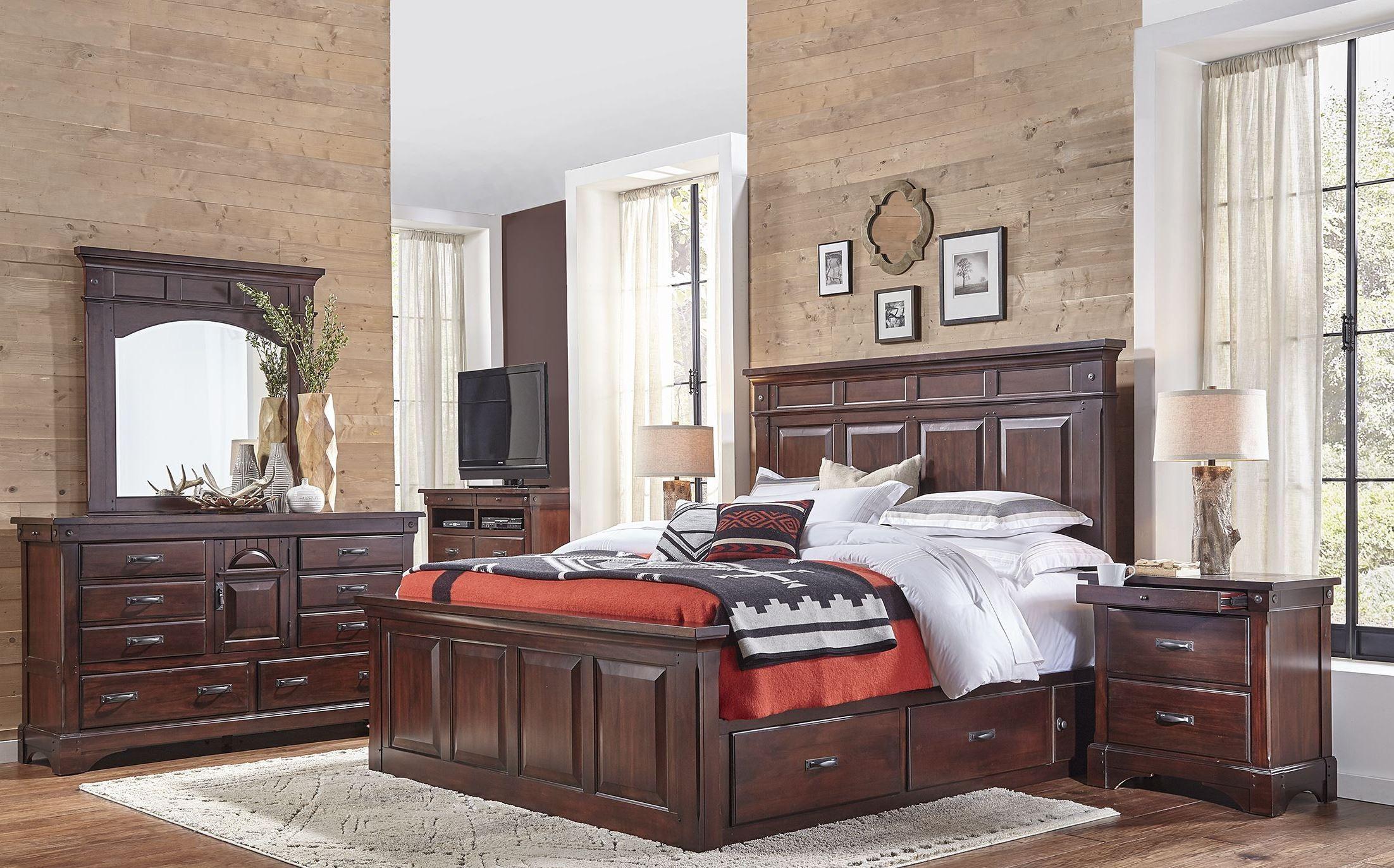 kalispell rustic mahogany storage bedroom set from a