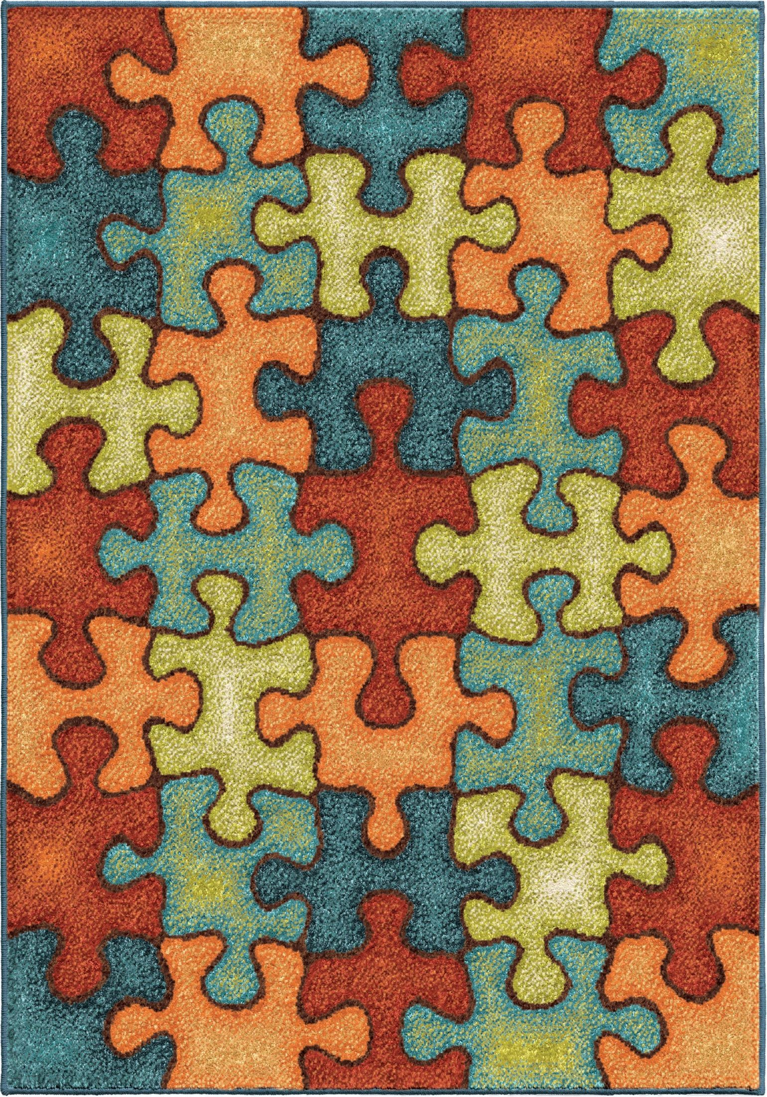 I M Puzzled Rainbow Small Rug From Orian 3101 4x6