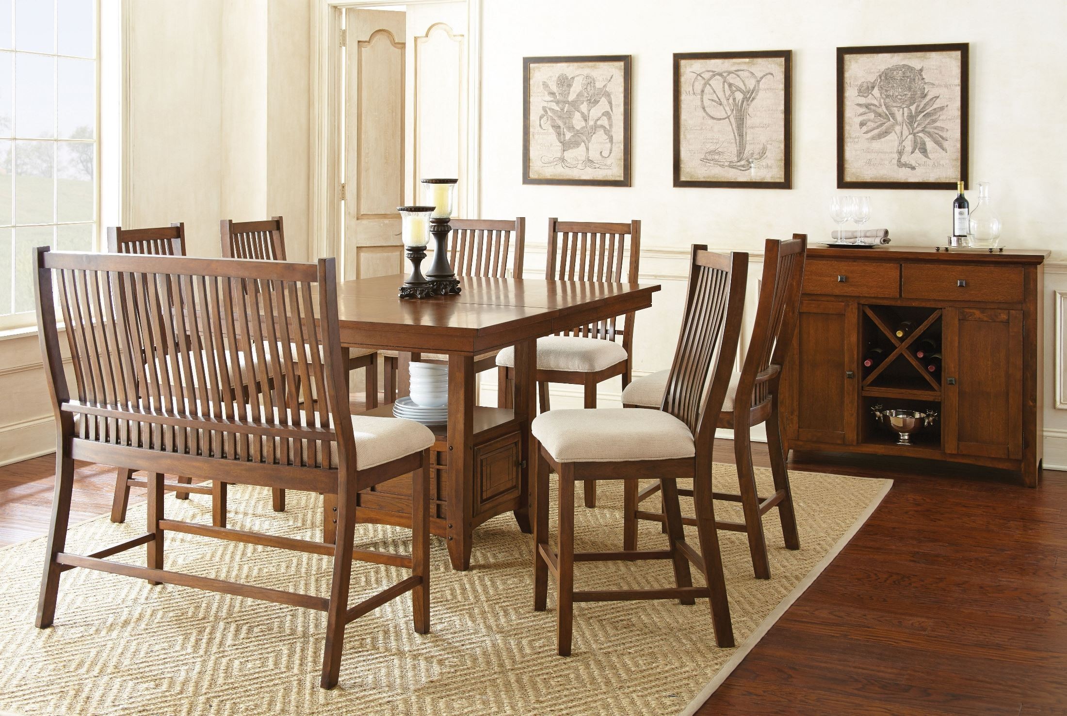 Kayan extendable counter height storage dining room set from steve silver ky550pb ky550pt - Dining room sets with storage ...