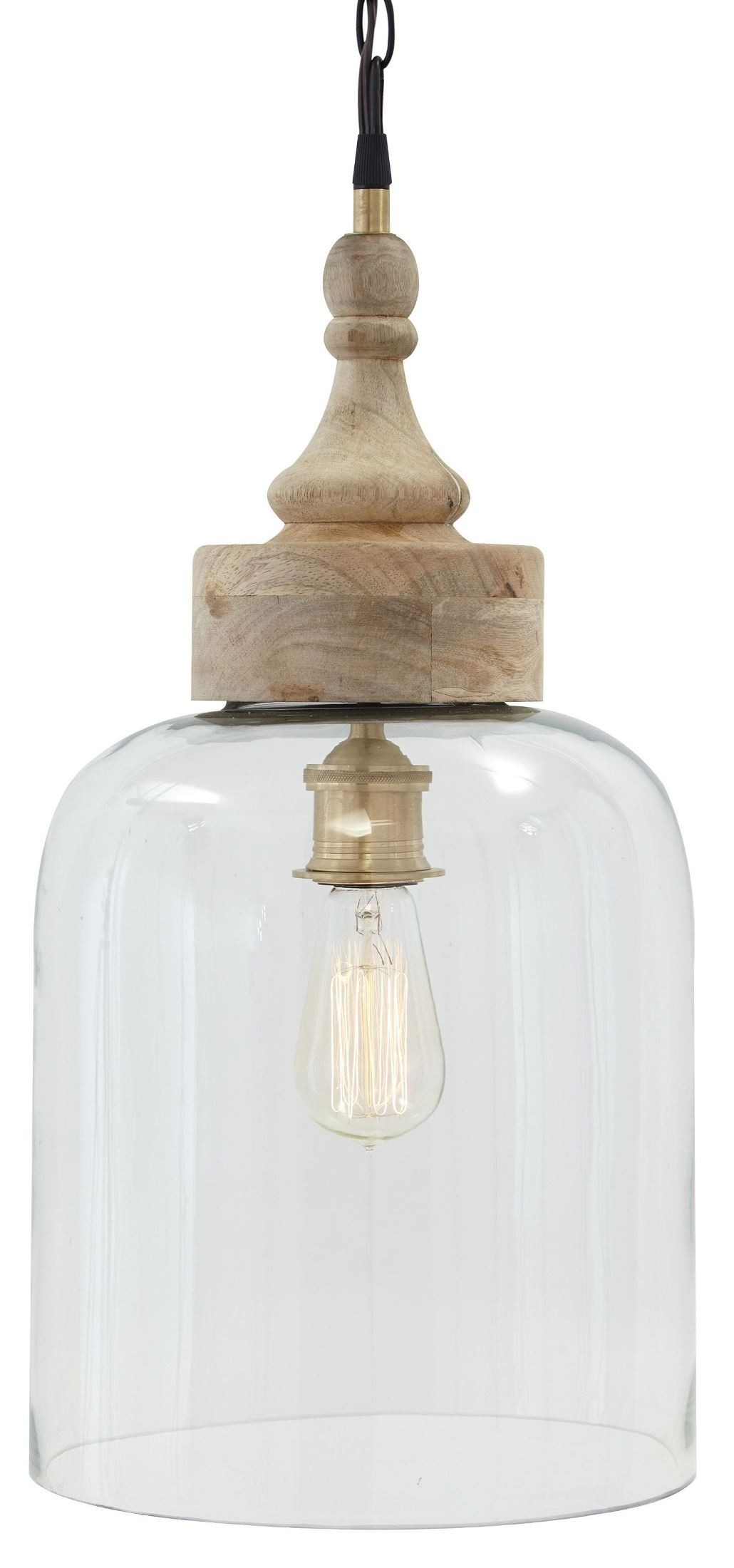 Glass and natural wood pendant light from ashley l000148 for Farmhouse style kitchen lighting