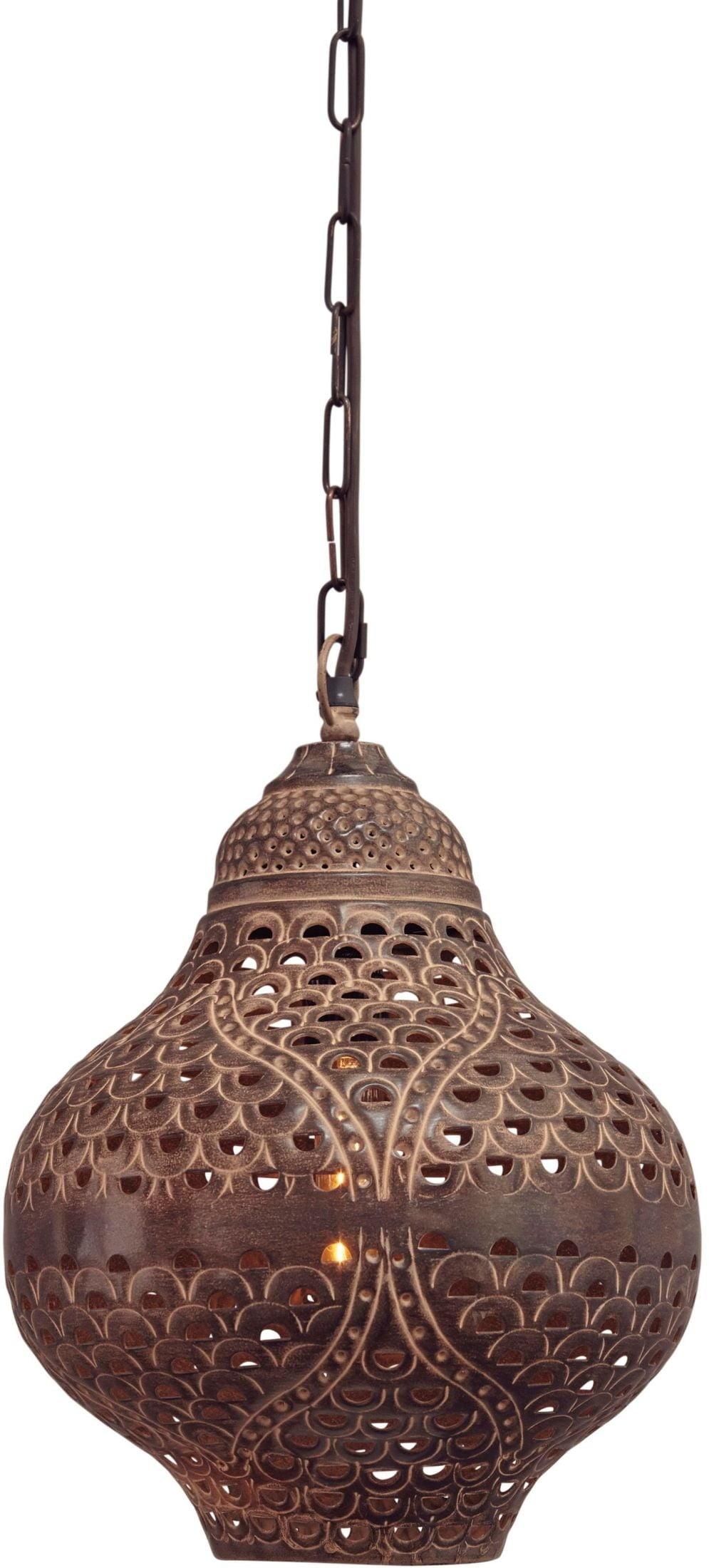 Ines Copper Glass Round Pendant Light L000628 Ashley