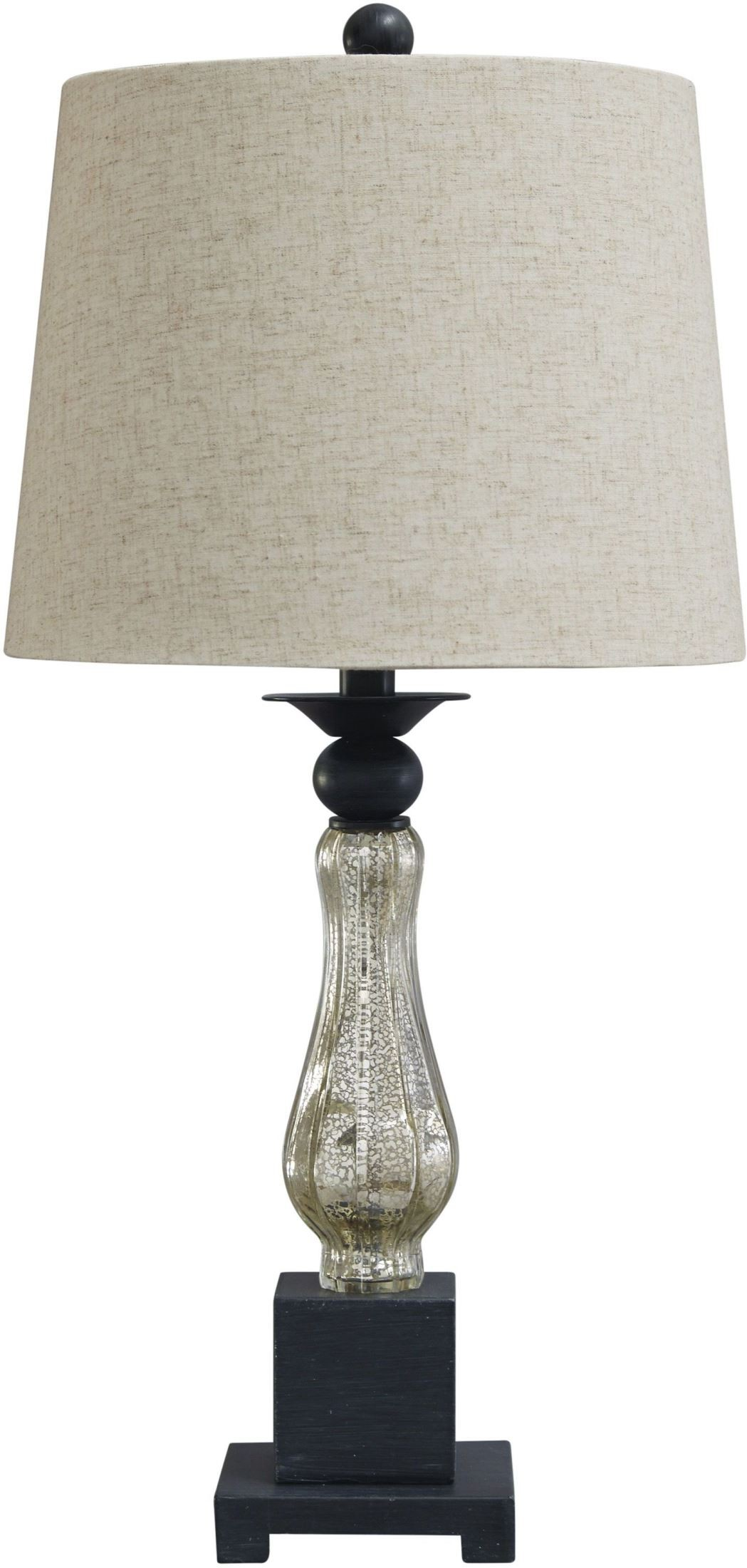 Stephan black and silver glass table lamp set of 2 from for Black and silver lamps