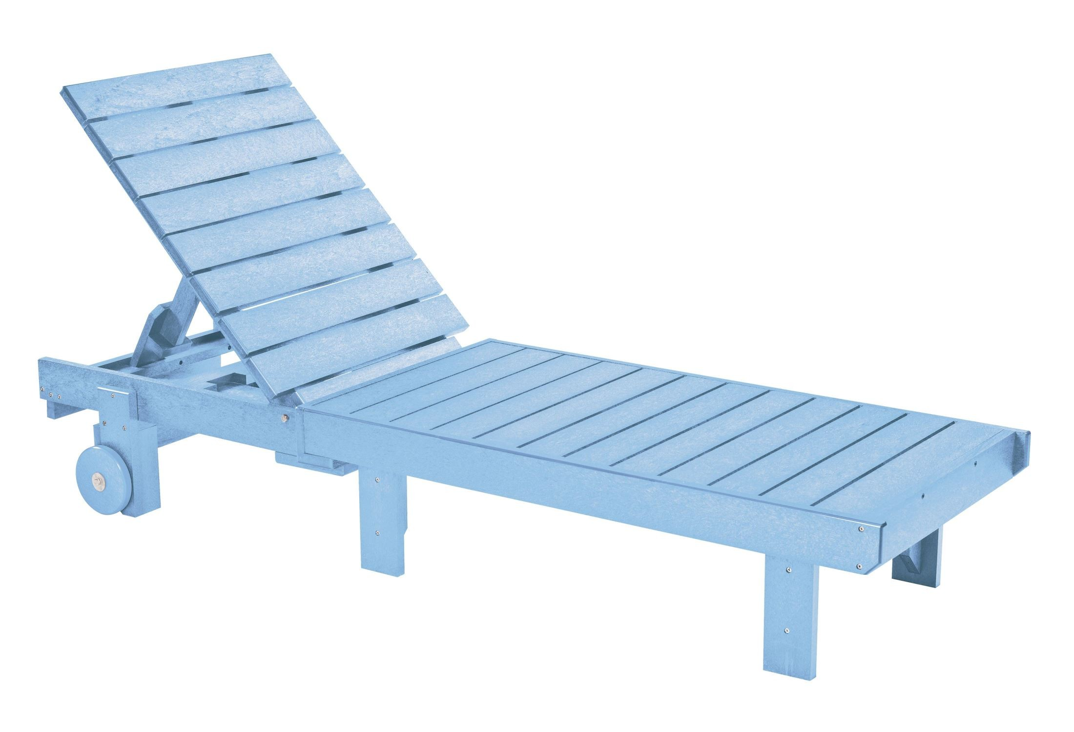 Generations sky blue chaise lounge with wheels from cr for Blue chaise lounge
