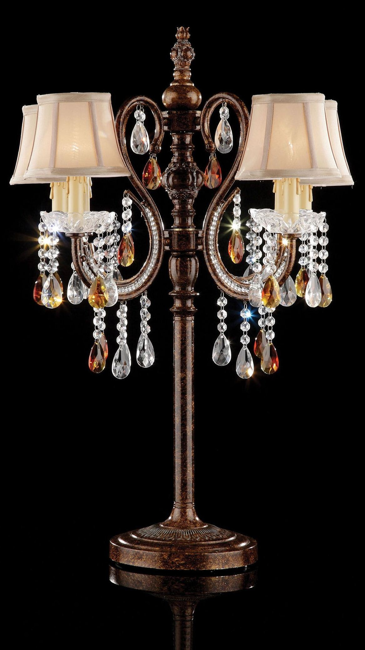 Juliet Golden Brown Hanging Crystal Table Lamp From