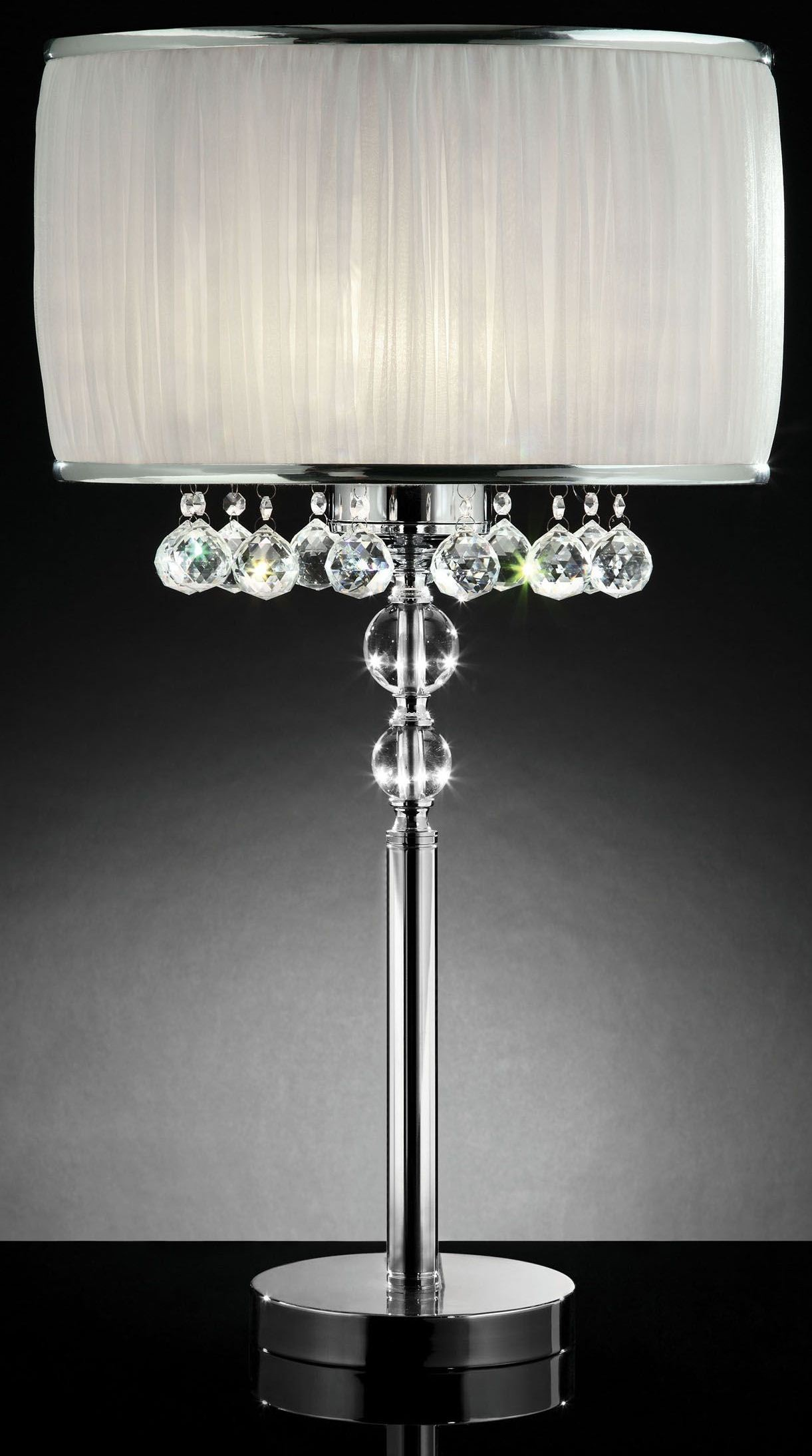 Chloe White Hanging Crystal Table Lamp From Furniture Of