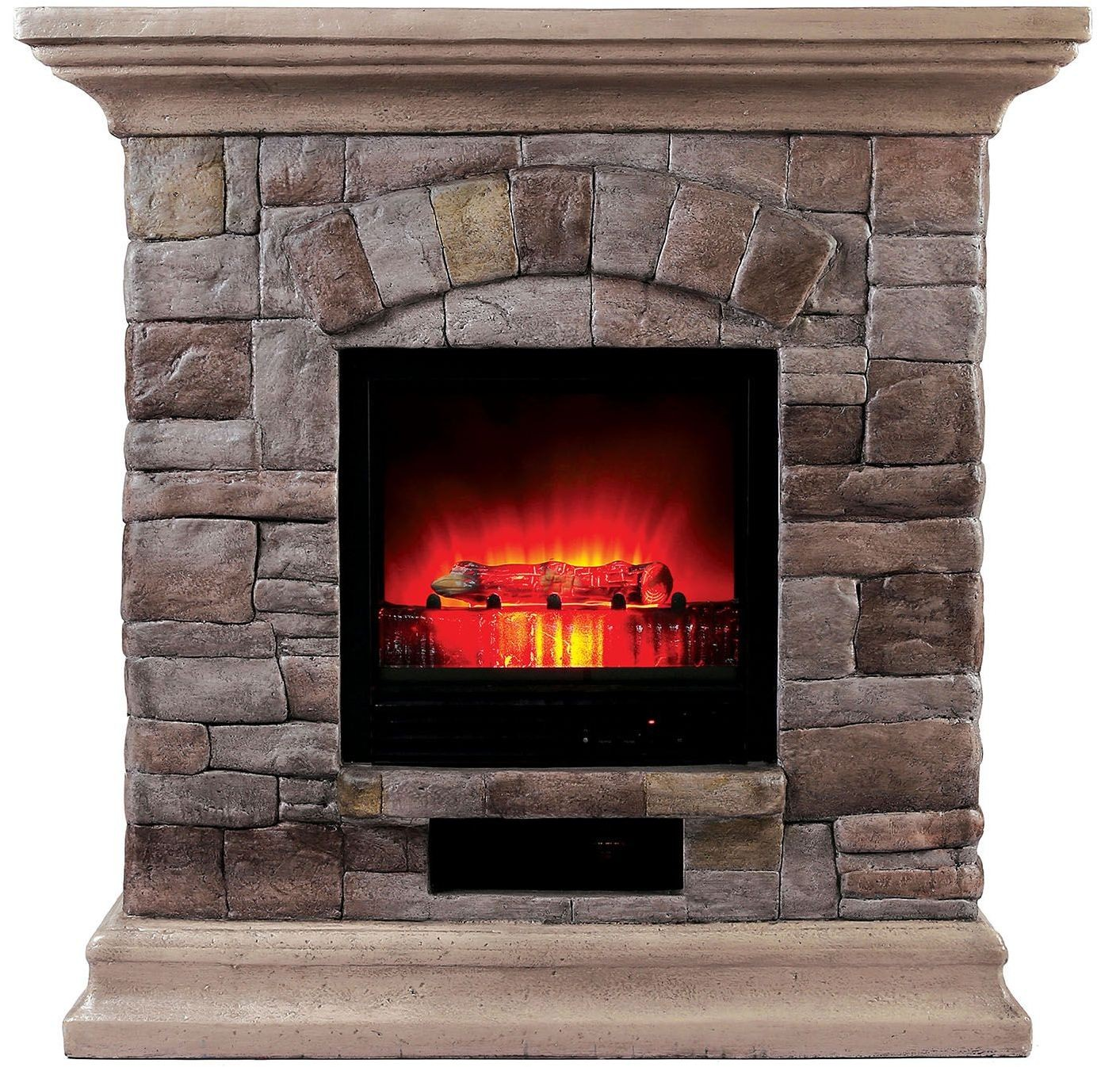 juna portable faux stone fireplace with heat light l9h134 furniture of america. Black Bedroom Furniture Sets. Home Design Ideas