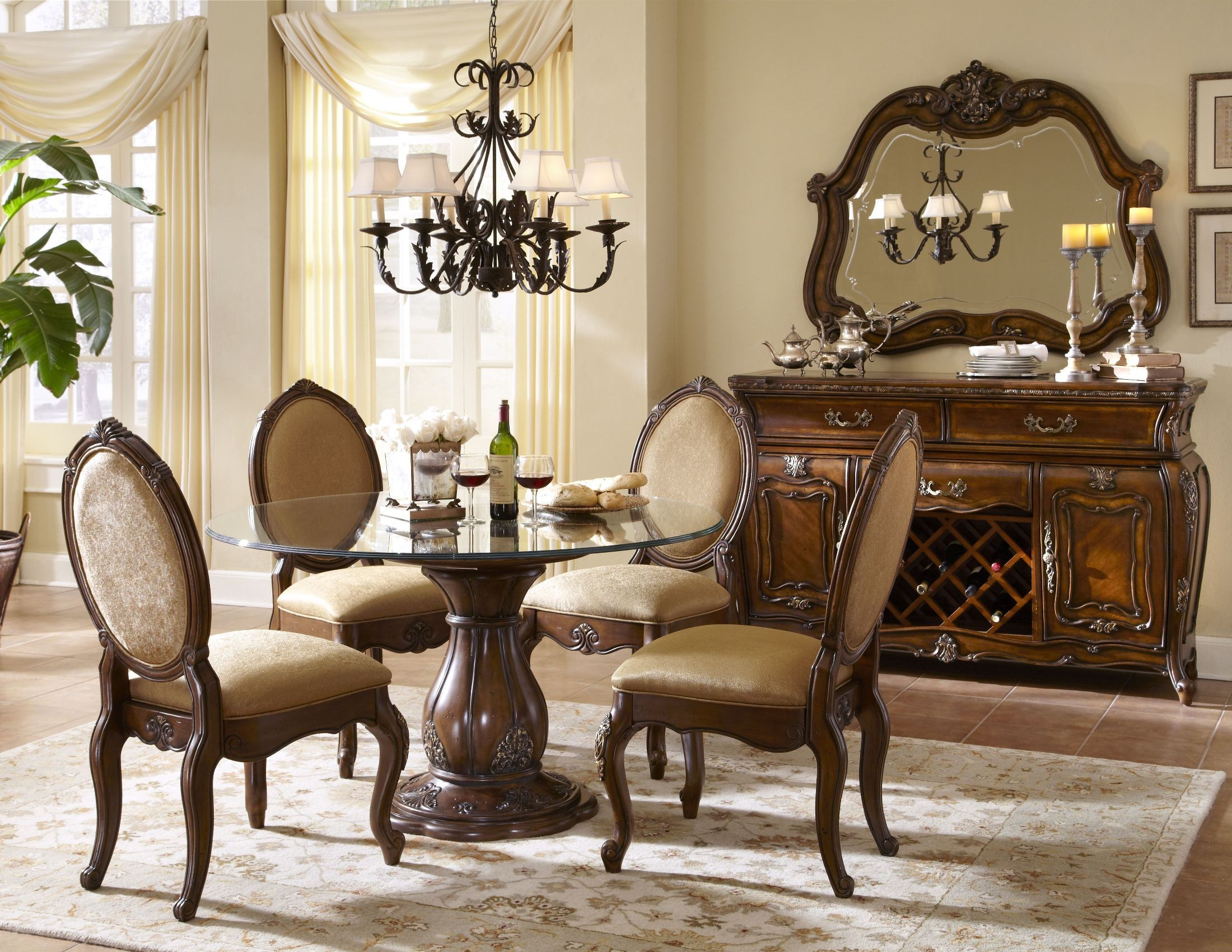 """Lavelle Melange 54"""" Round Glass Top Dining Room Set From"""