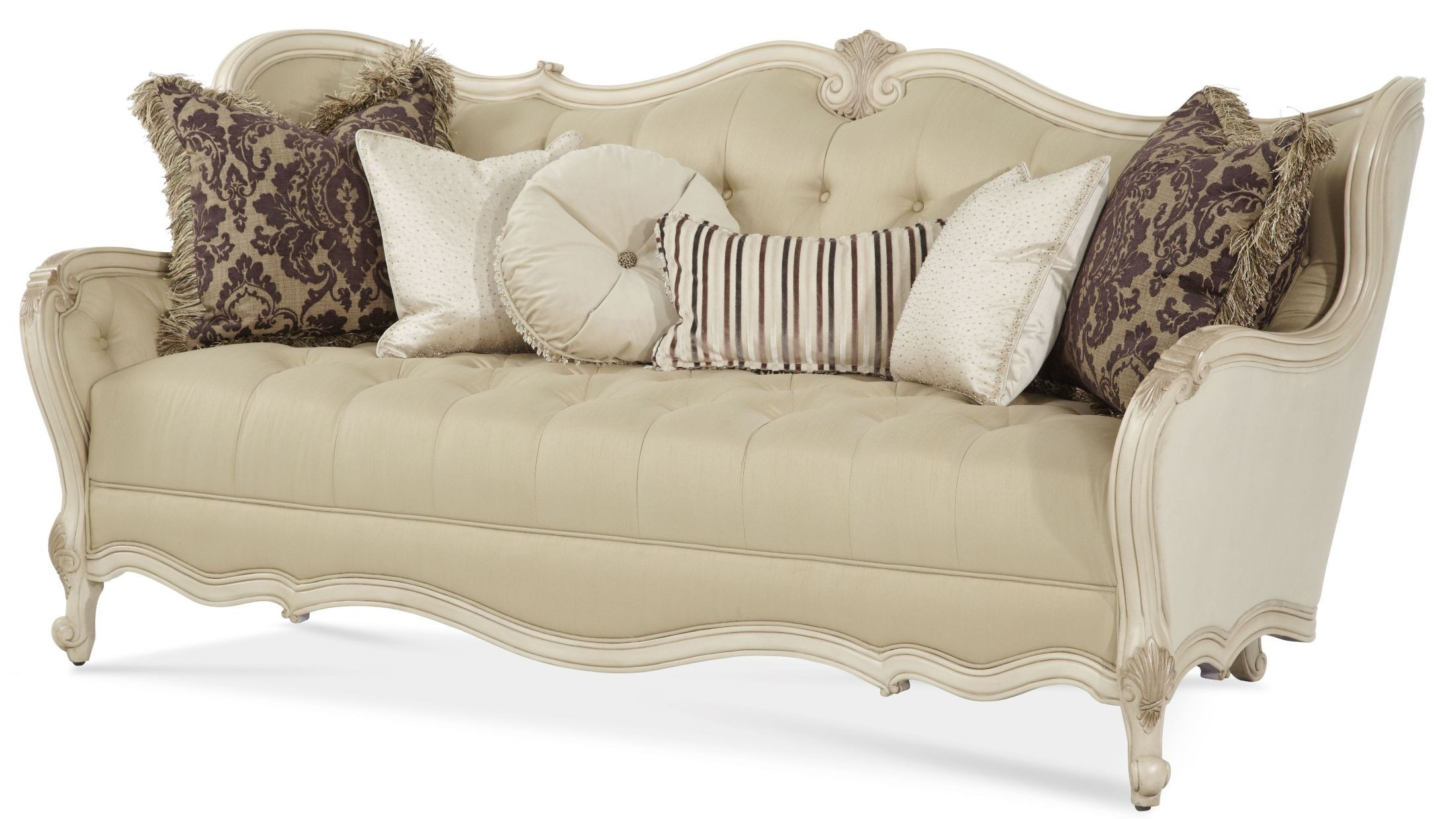 Lavelle blanc wood trim tufted sofa from aico chpgn