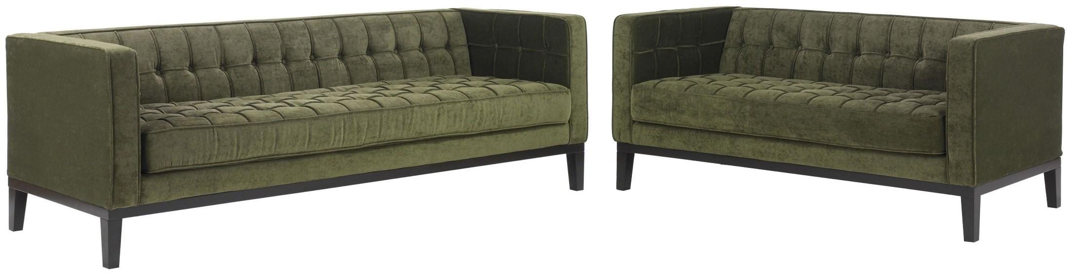 Roxbury Tufted Green Fabric Living Room Set Lc10103gr