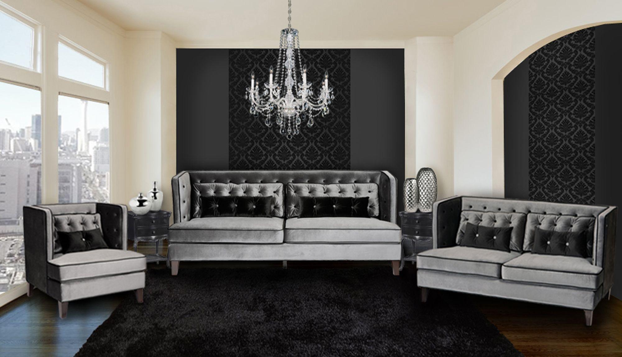 moulin gray velvet living room set lc21573gr armen living. Black Bedroom Furniture Sets. Home Design Ideas