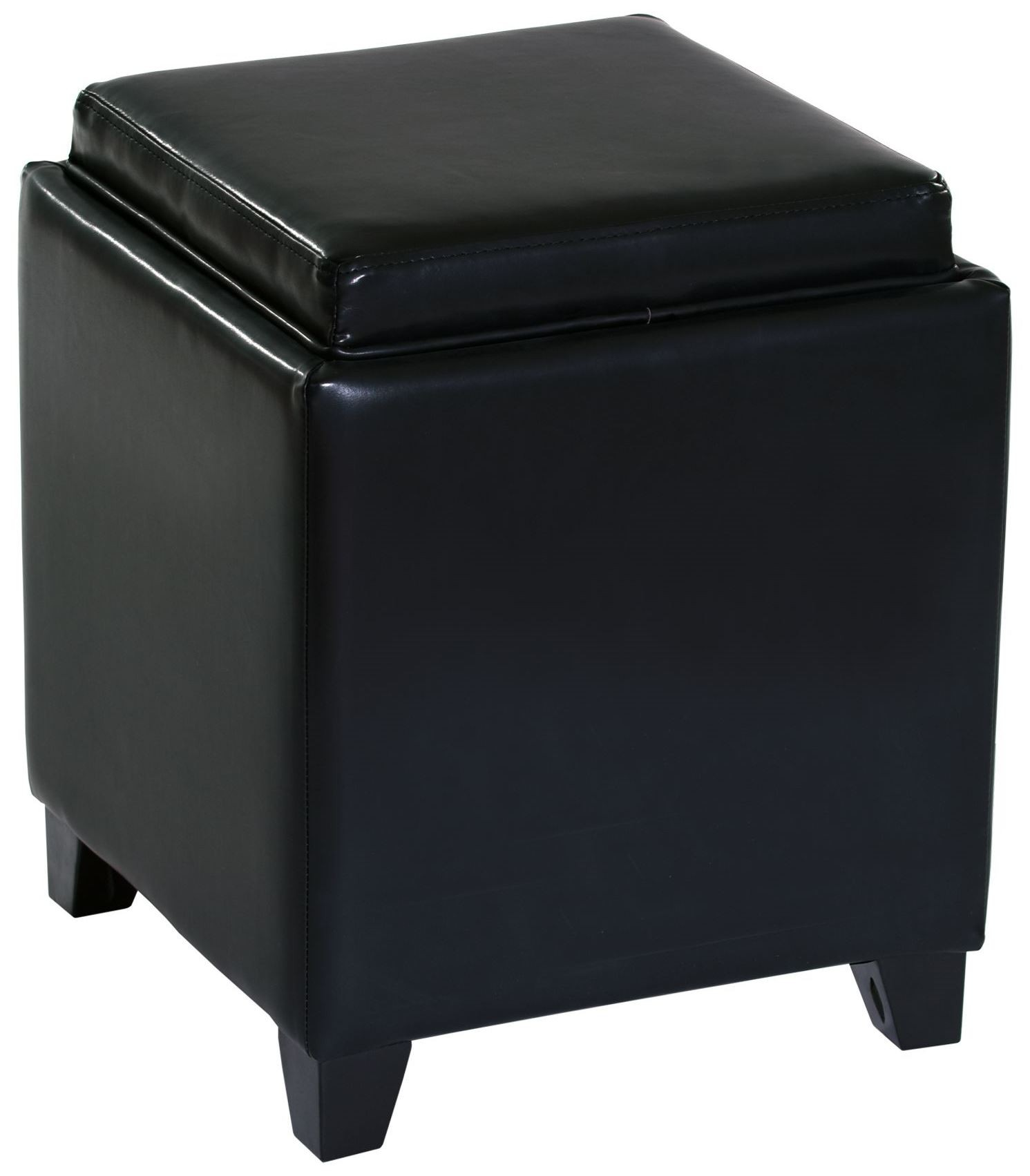 Rainbow Black Bonded Leather Storage Ottoman With Tray