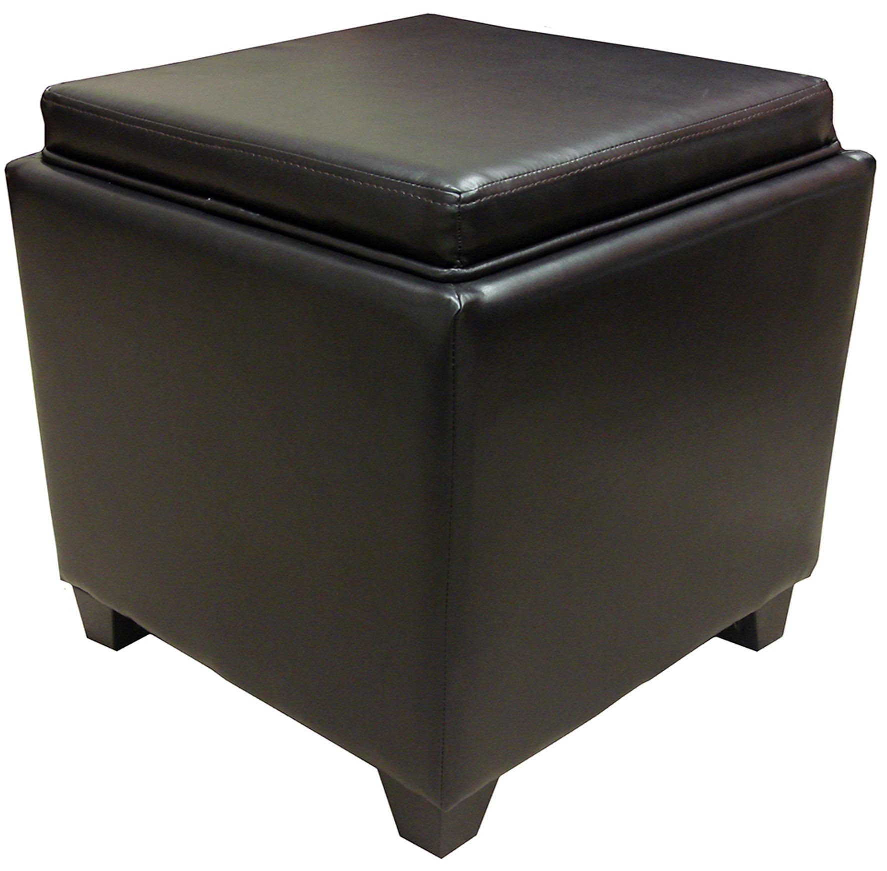 Rainbow Brown Bonded Leather Storage Ottoman with Tray ...