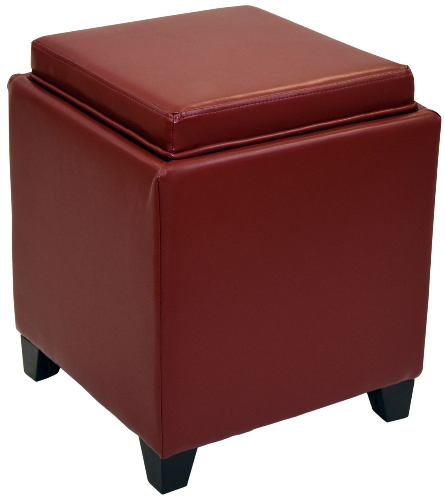 Rainbow Red Bonded Leather Storage Ottoman With Tray From