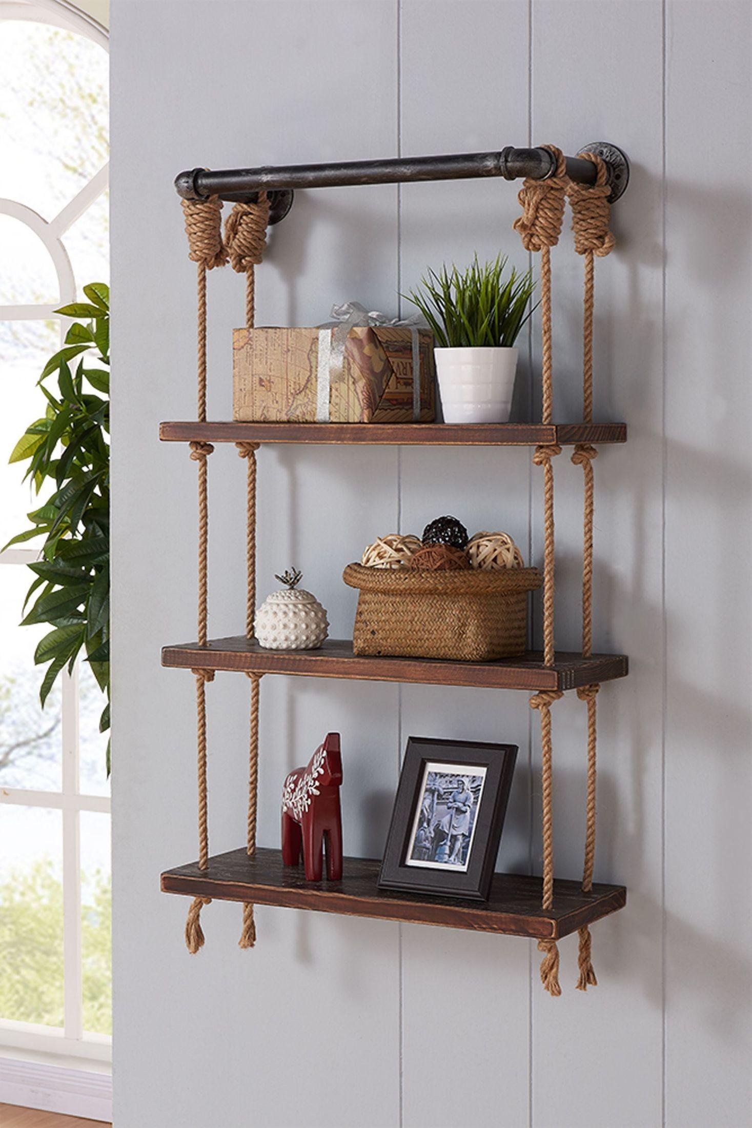 Brannon 24 Gray Walnut Wood Floating Wall Shelf From