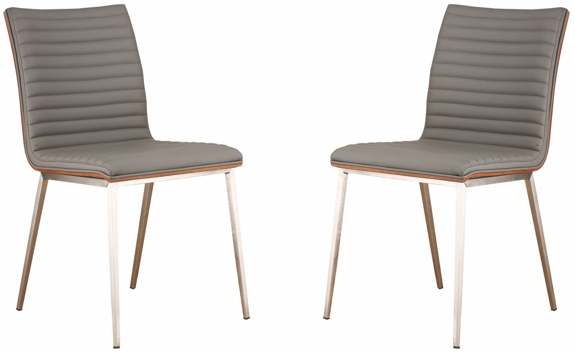 Steel Dining Chairs ~ Cafe brushed stainless steel gray dining chair set of