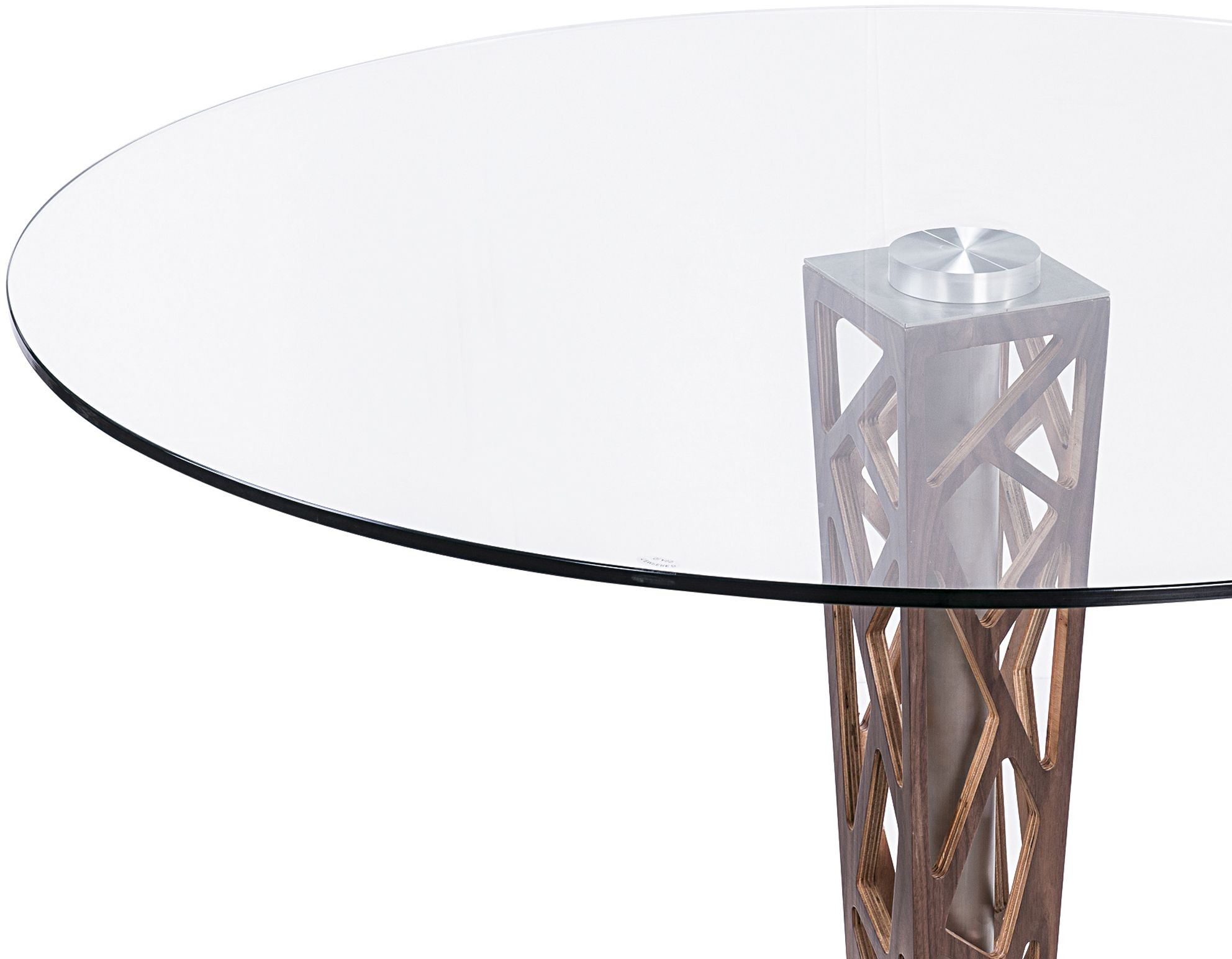 """Round Glass Dining Table 48 Inches: Crystal 48"""" Clear Tempered Glass Top Round Dining Table"""