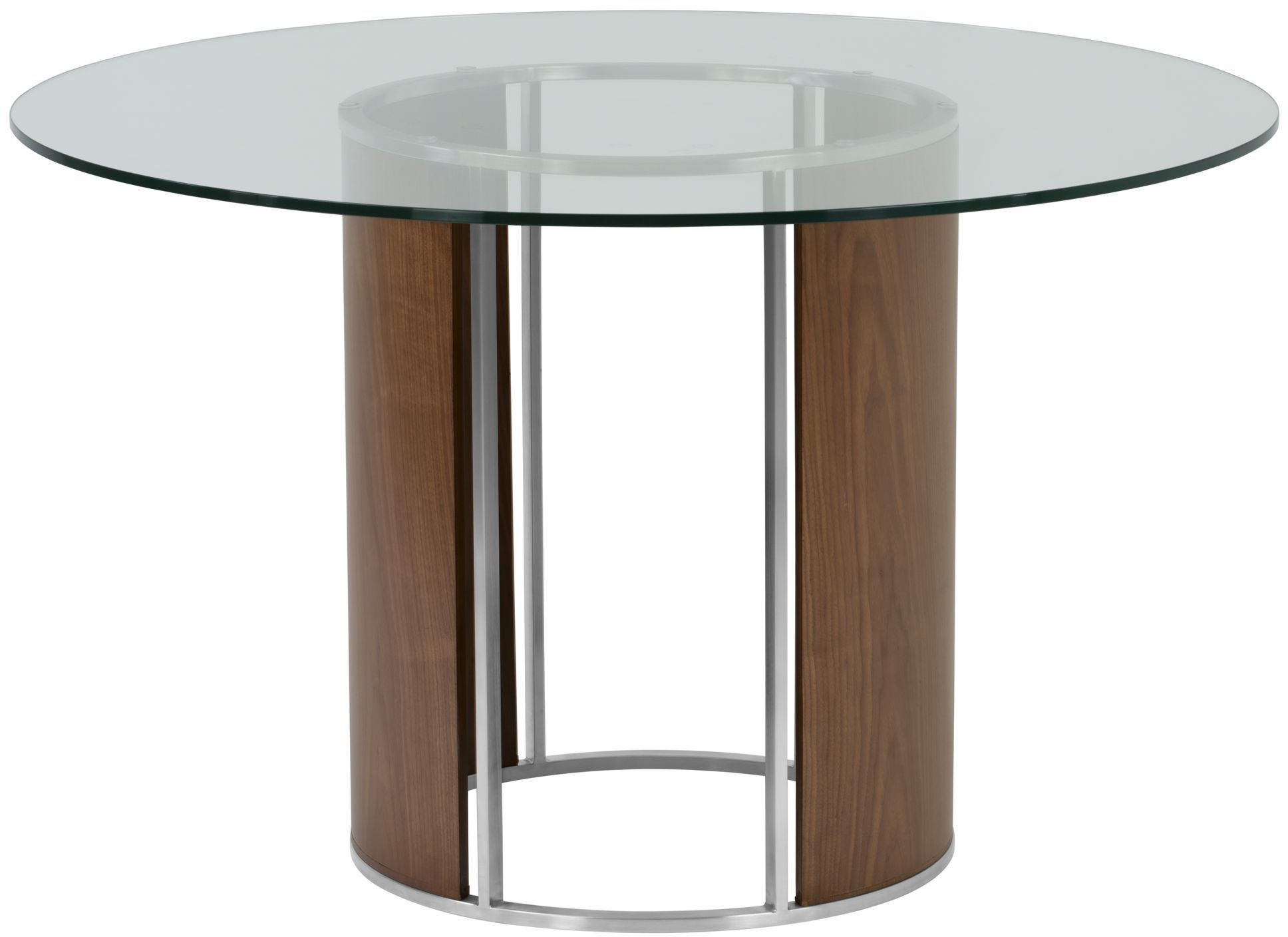 Delano clear tempered glass top round dining table from for Tempered glass dining table