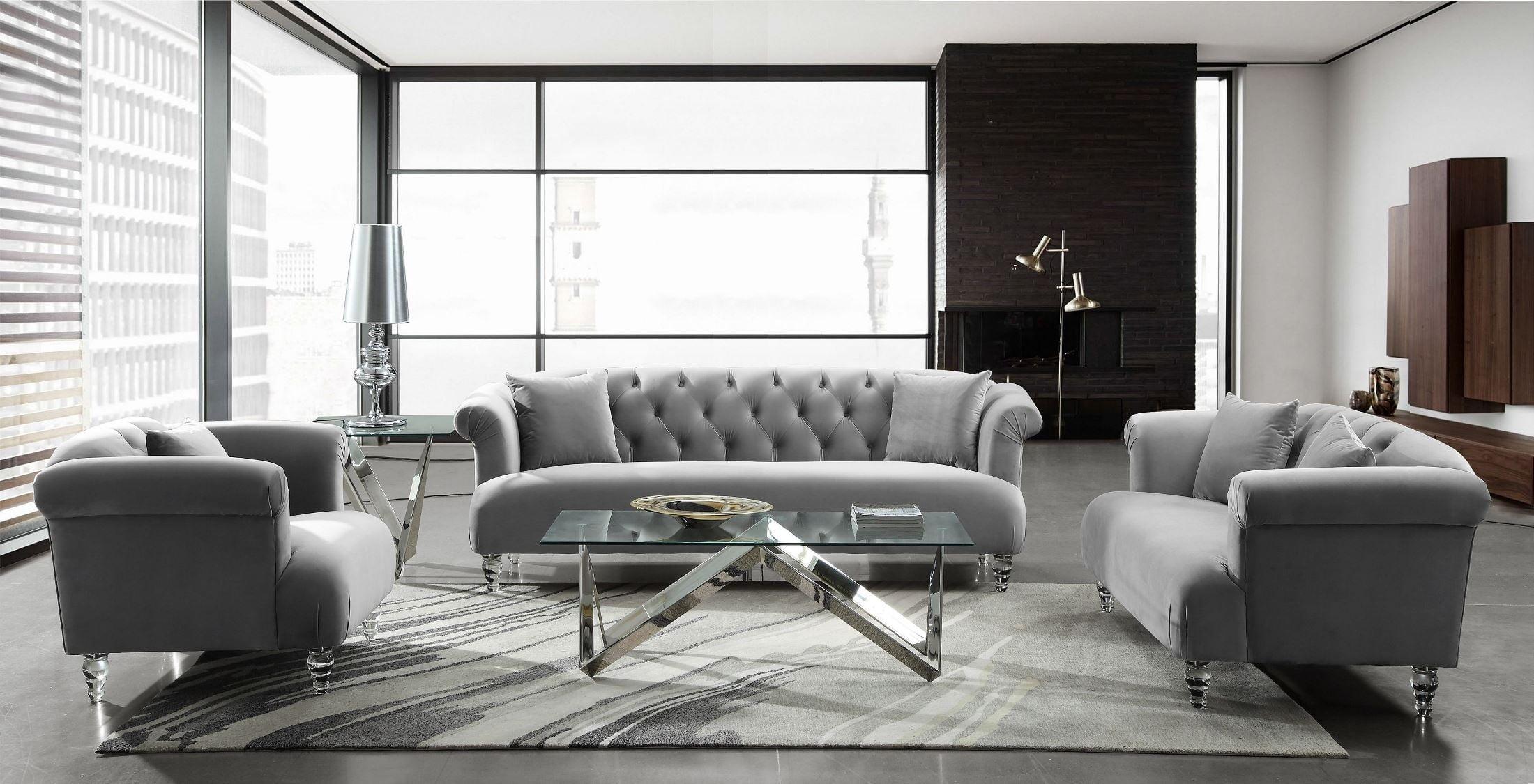 Genial Elegance Grey Velvet Living Room Set From Armen Living | Coleman Furniture