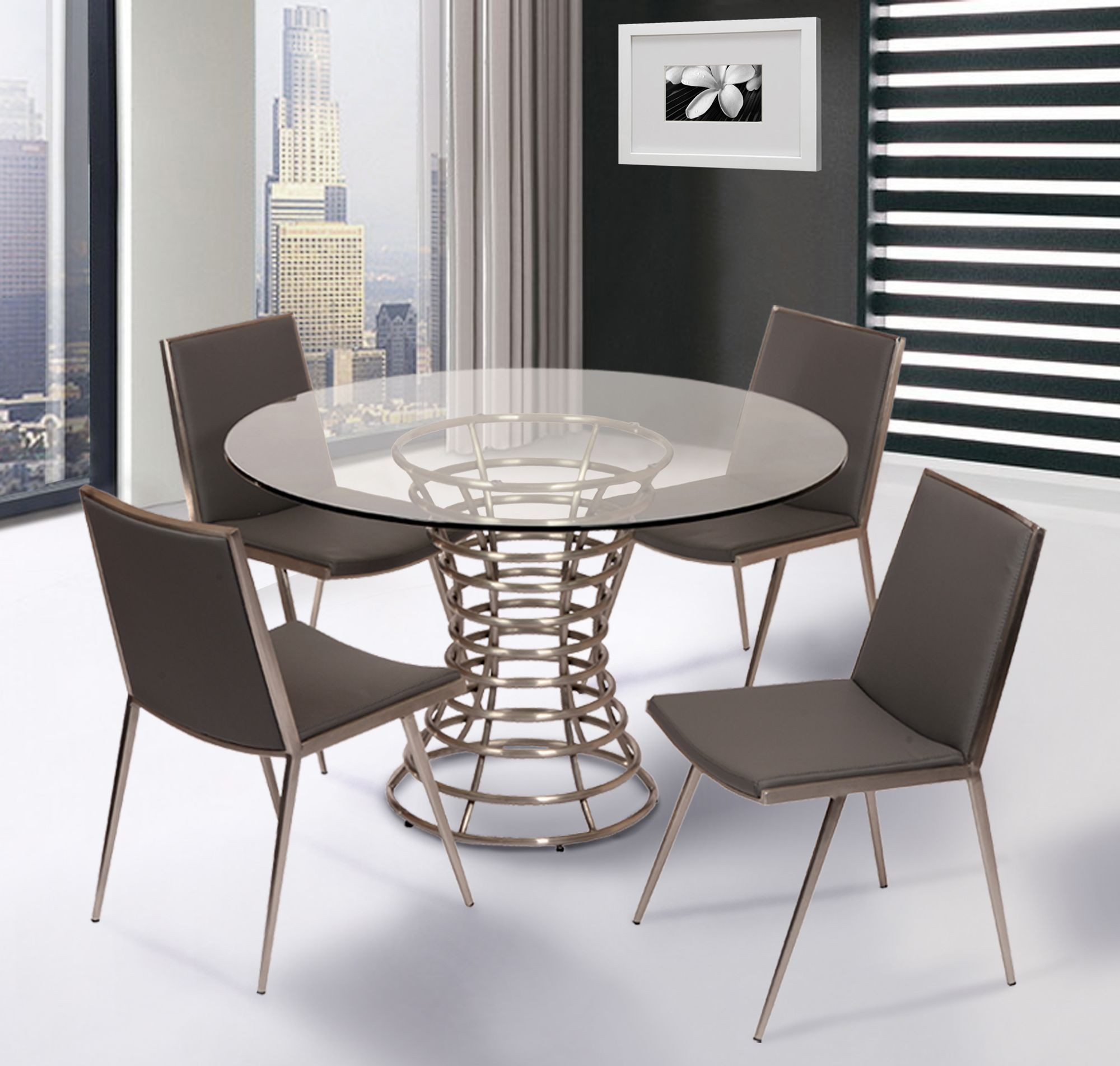 stainless steel dining room chairs | Ibiza Brushed Stainless Steel Dining Room Set, LCIBDIB201 ...