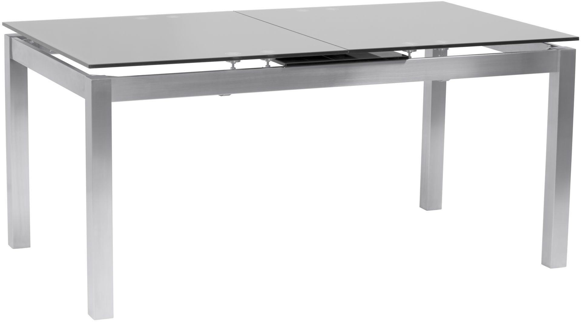 Ivan gray tempered glass top extendable dining table from for Extendable glass dining table