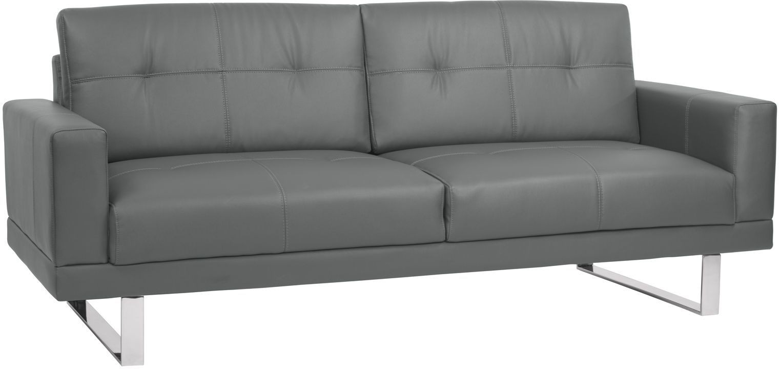 Lincoln Mid Century Gray Upholstered Futon Sofa Bed From