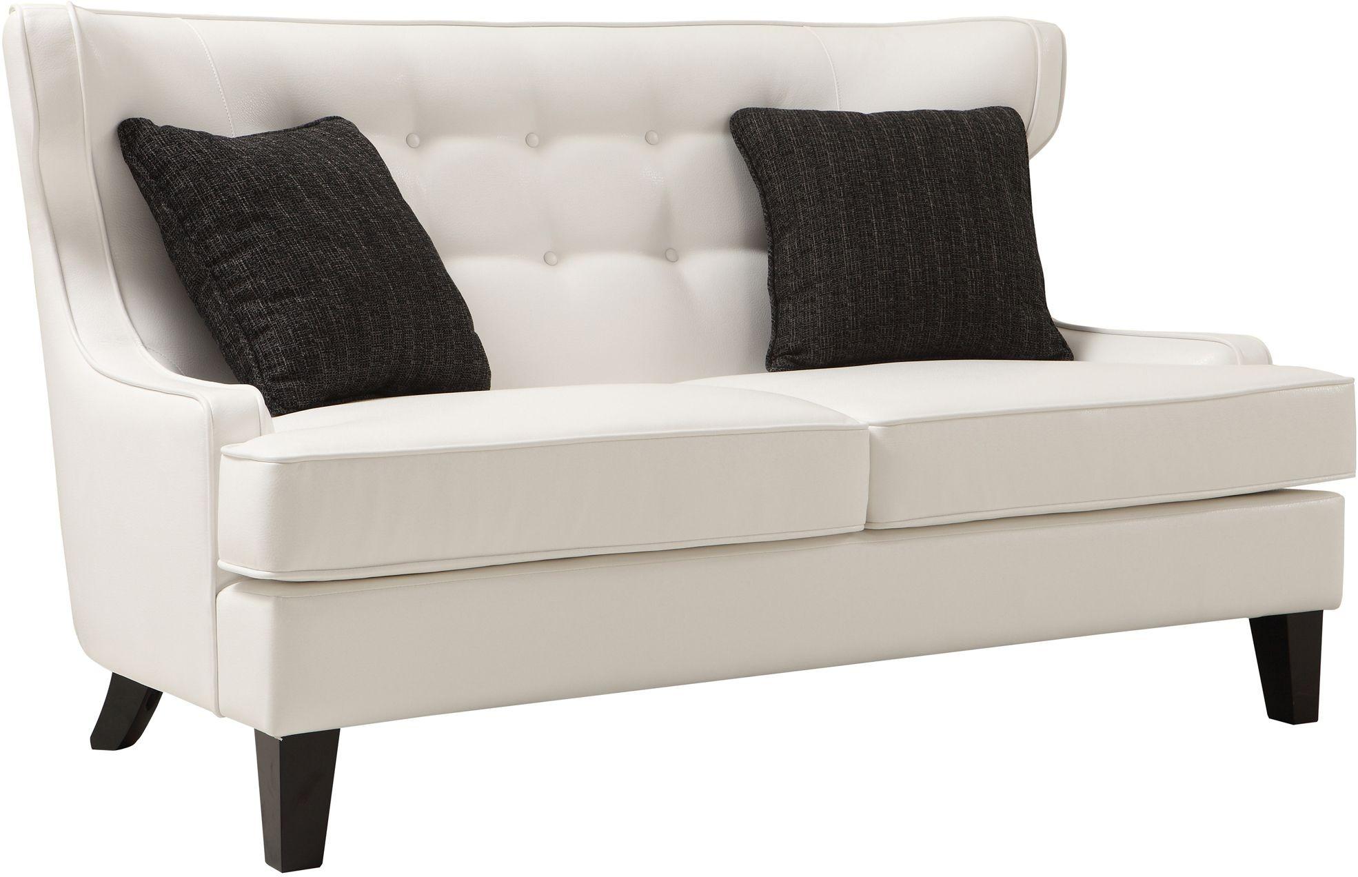 Skyline White Bonded Leather Loveseat From Armen Living Coleman Furniture