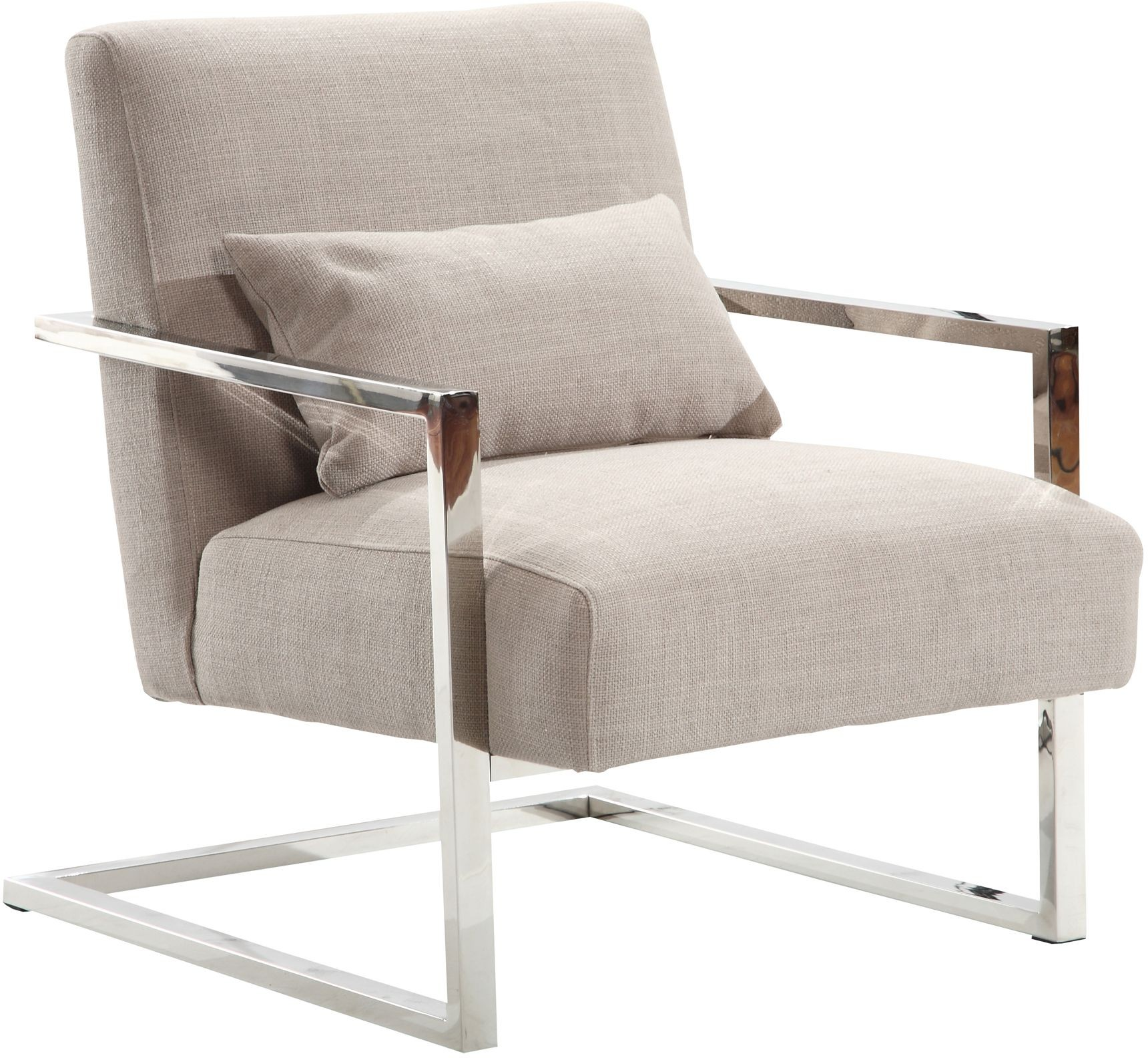 Designer Accent Chairs: Skyline Modern Gray Linen And Steel Accent Chair From