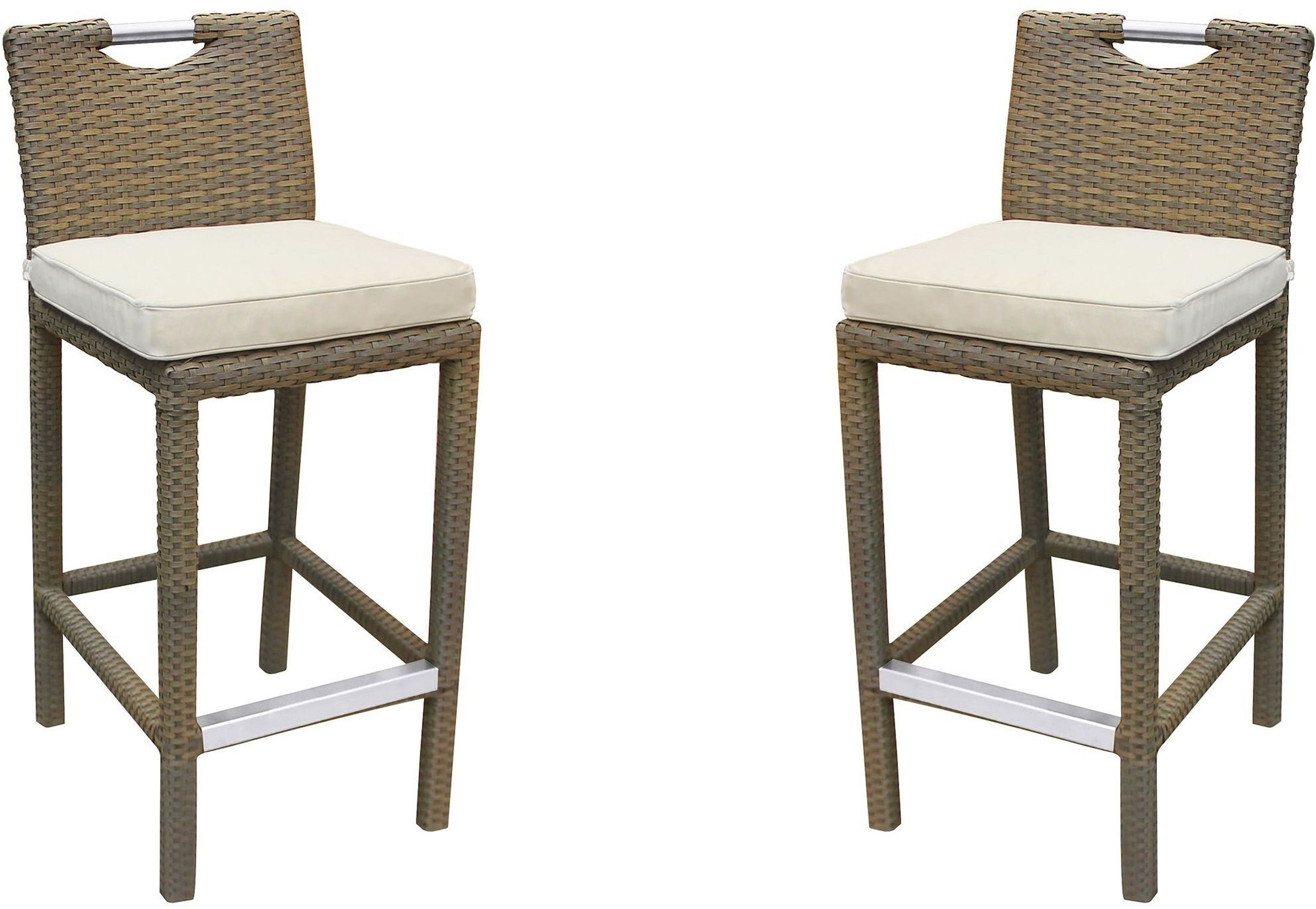 Stewart Outdoor Cream Rattan Patio Barstool Set Of 2 From