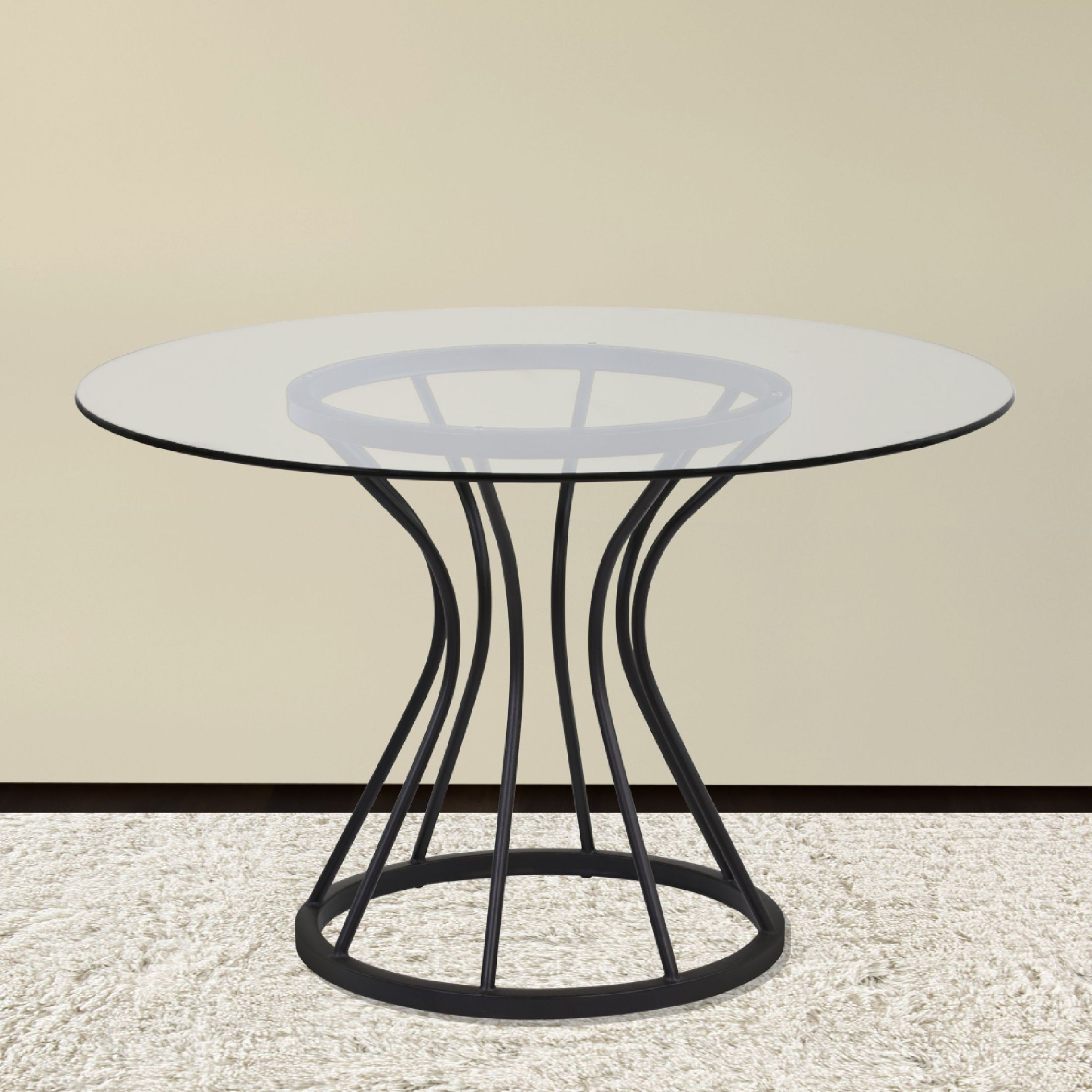 "Round Glass Kitchen Tables: Zurich Black 48"" Glass Round Dining Table, LCZUDITOCLGL"