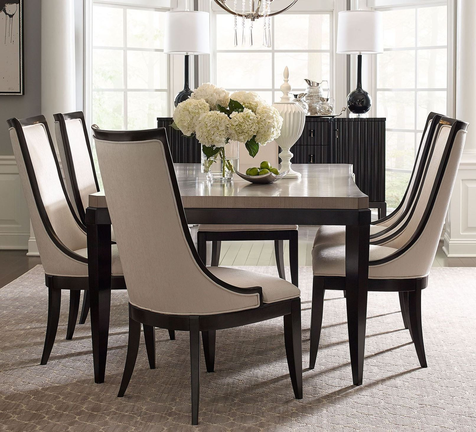 Symphony Platinum & Black Tie Extendable Rectangular Dining Room Set ...
