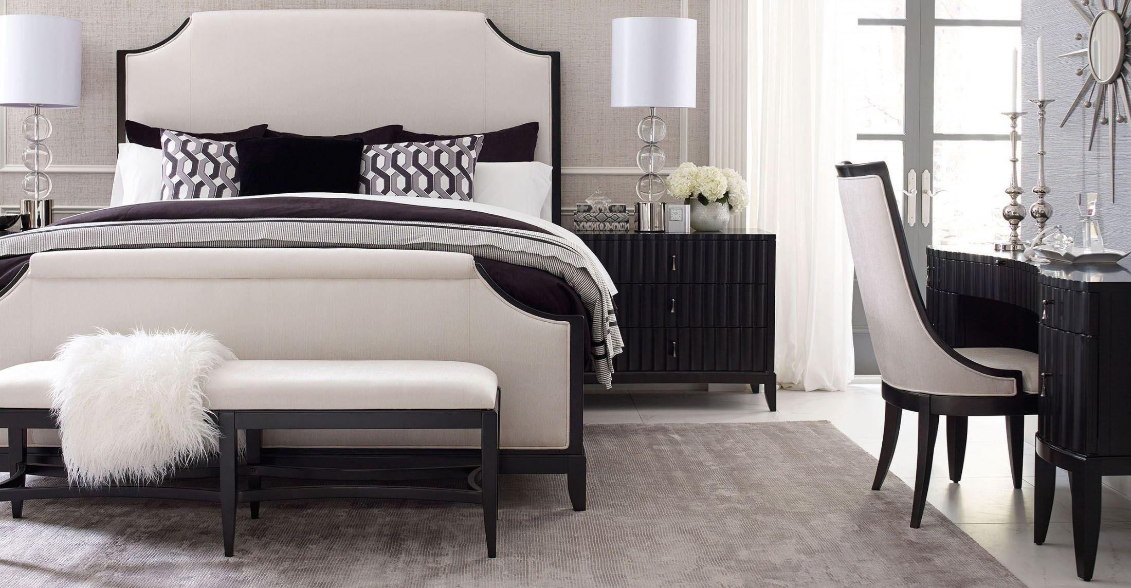 Symphony Platinum & Black Tie Upholstered Panel Bedroom Set from ...