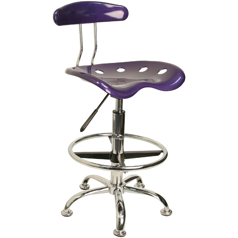 Chrome Tractor Seats : Vibrant violet and chrome tractor seat drafting stool from