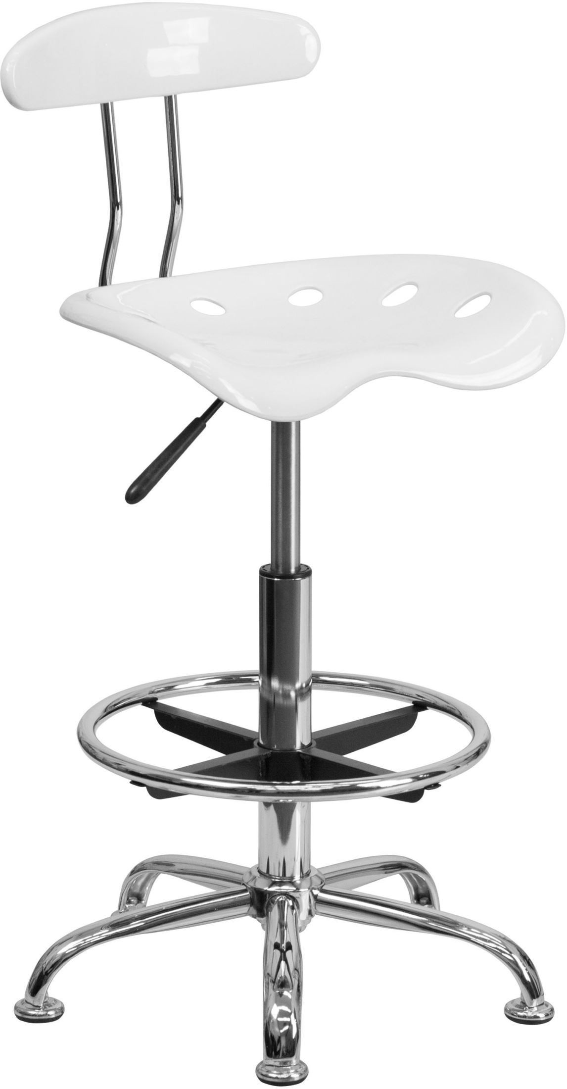 Chrome Tractor Seats : Vibrant white and chrome tractor seat drafting stool min