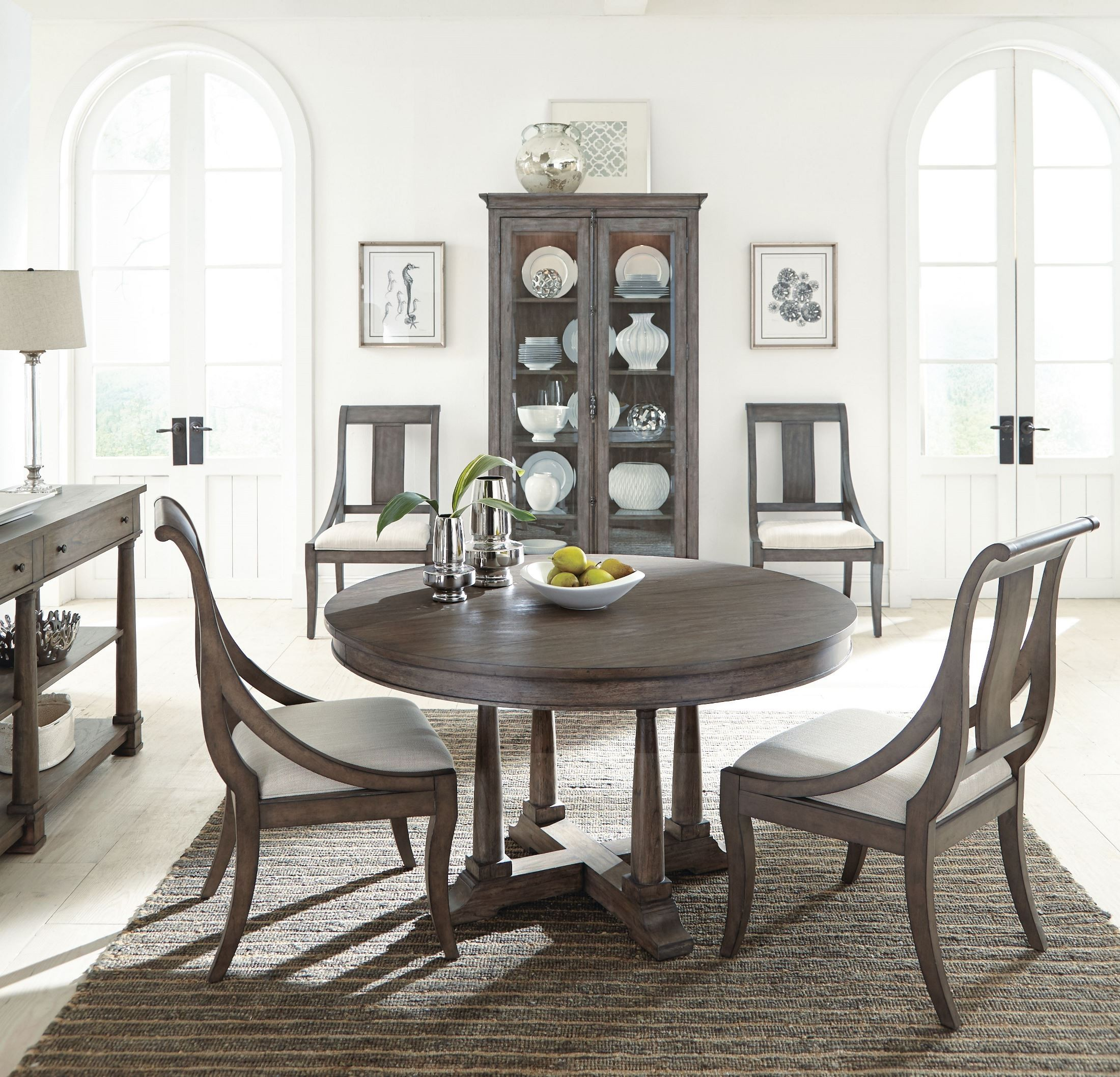 Round Dining Room Sets For 6: Lincoln Park Gray Extendable Round Dining Room Set From