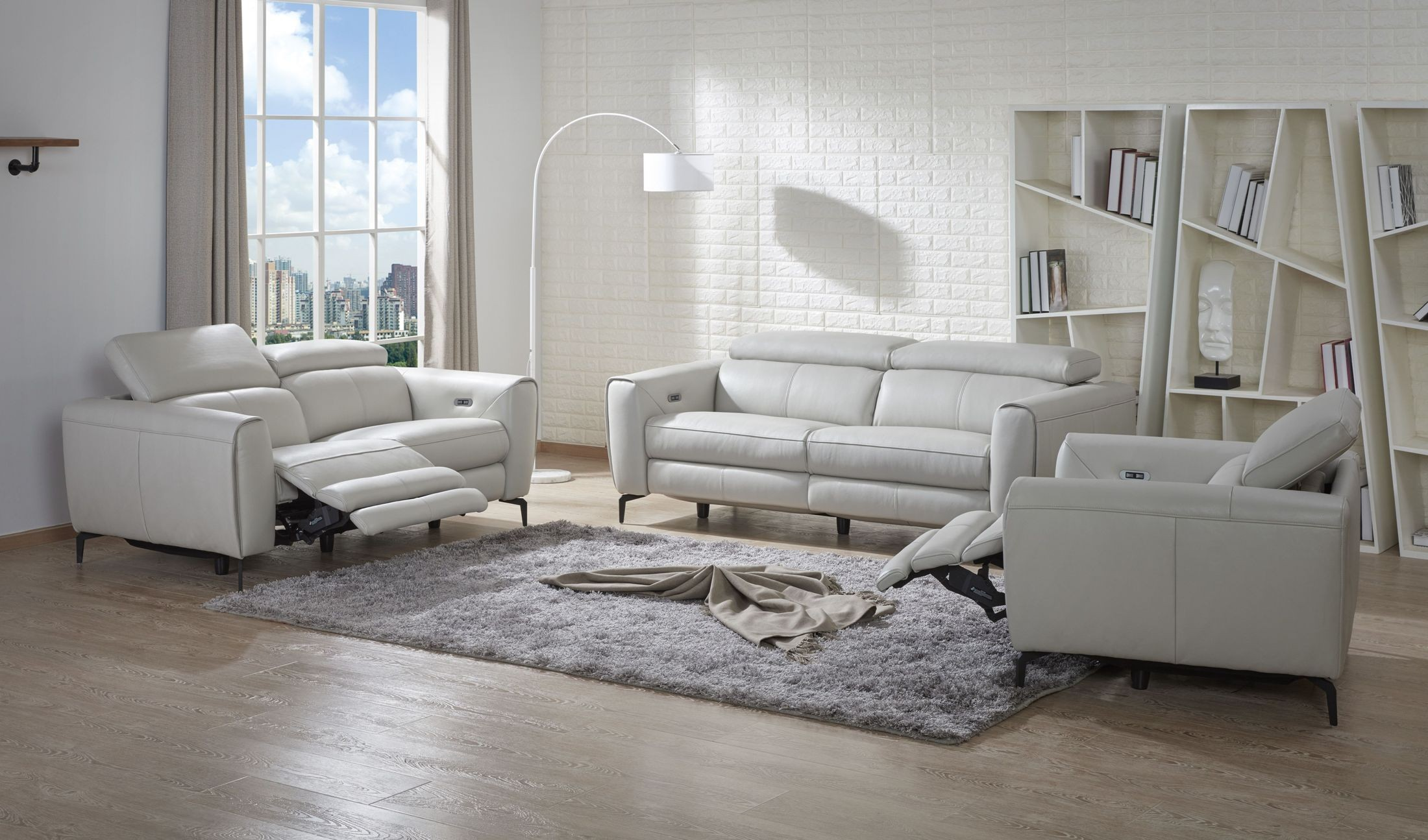 Lorenzo light grey leather reclining living room set from for Lorenzo living room furniture sets pieces