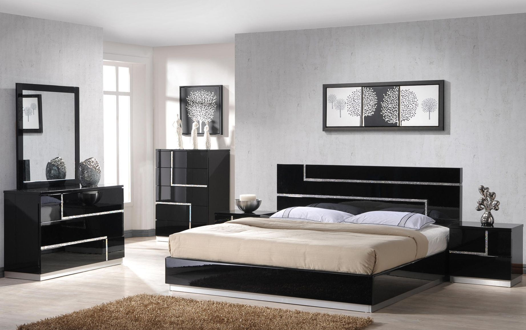 lucca black lacquer platform bedroom set from j m 17685 q 14583 | lucca modern bedroom 2