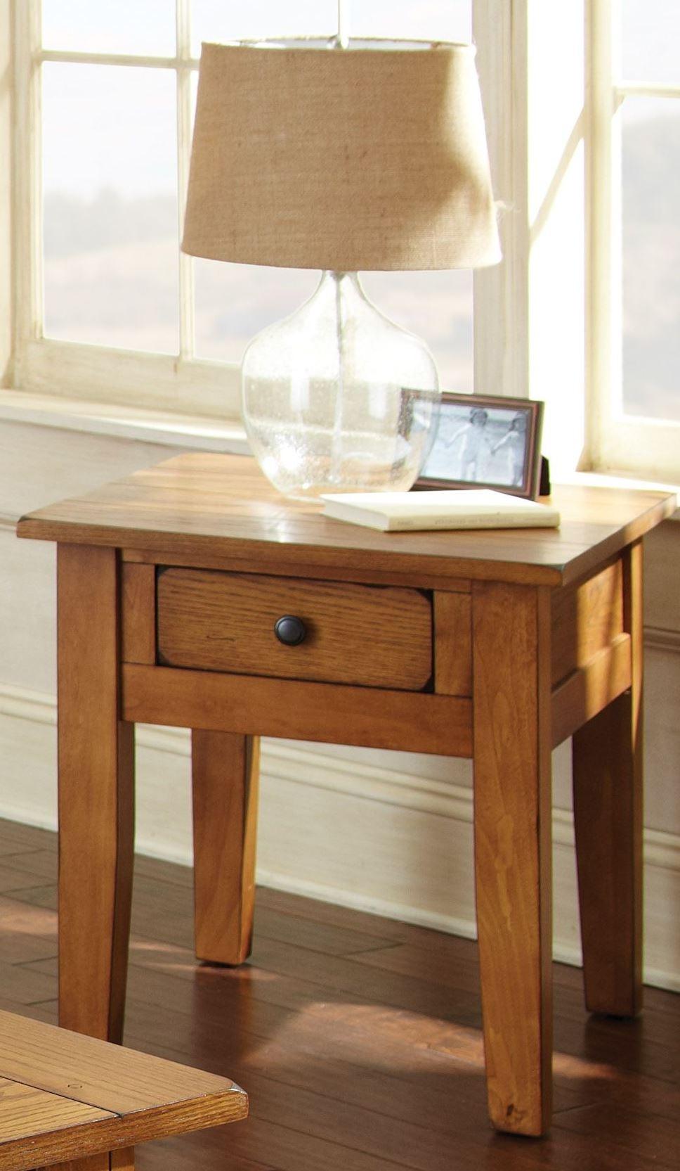 Oak Side Table: Liberty Golden Oak End Table From Steve Silver (LY600E