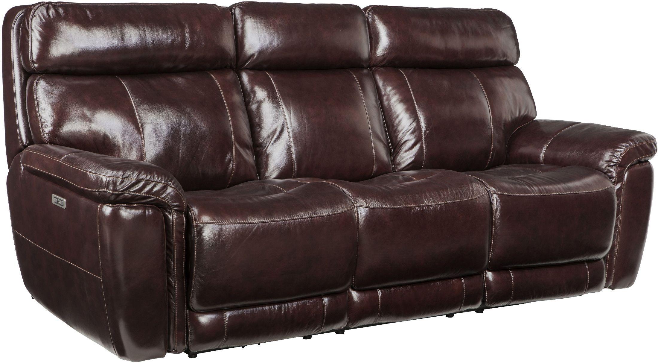 Harris Portofino Blackberry Leather Power Reclining Sofa