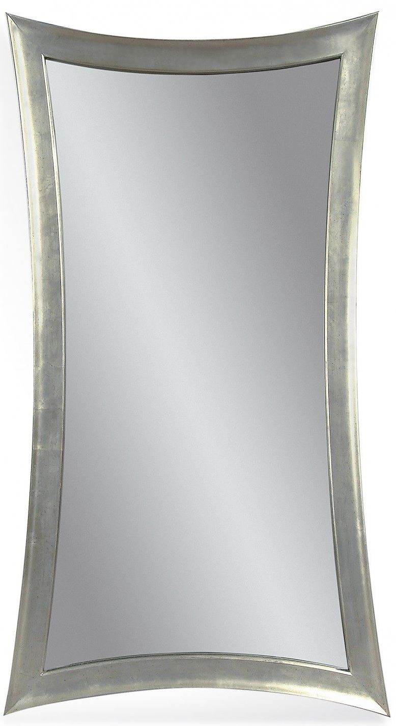 Hour Glass Shaped Silver Leaf Leaner Mirror From Bassett
