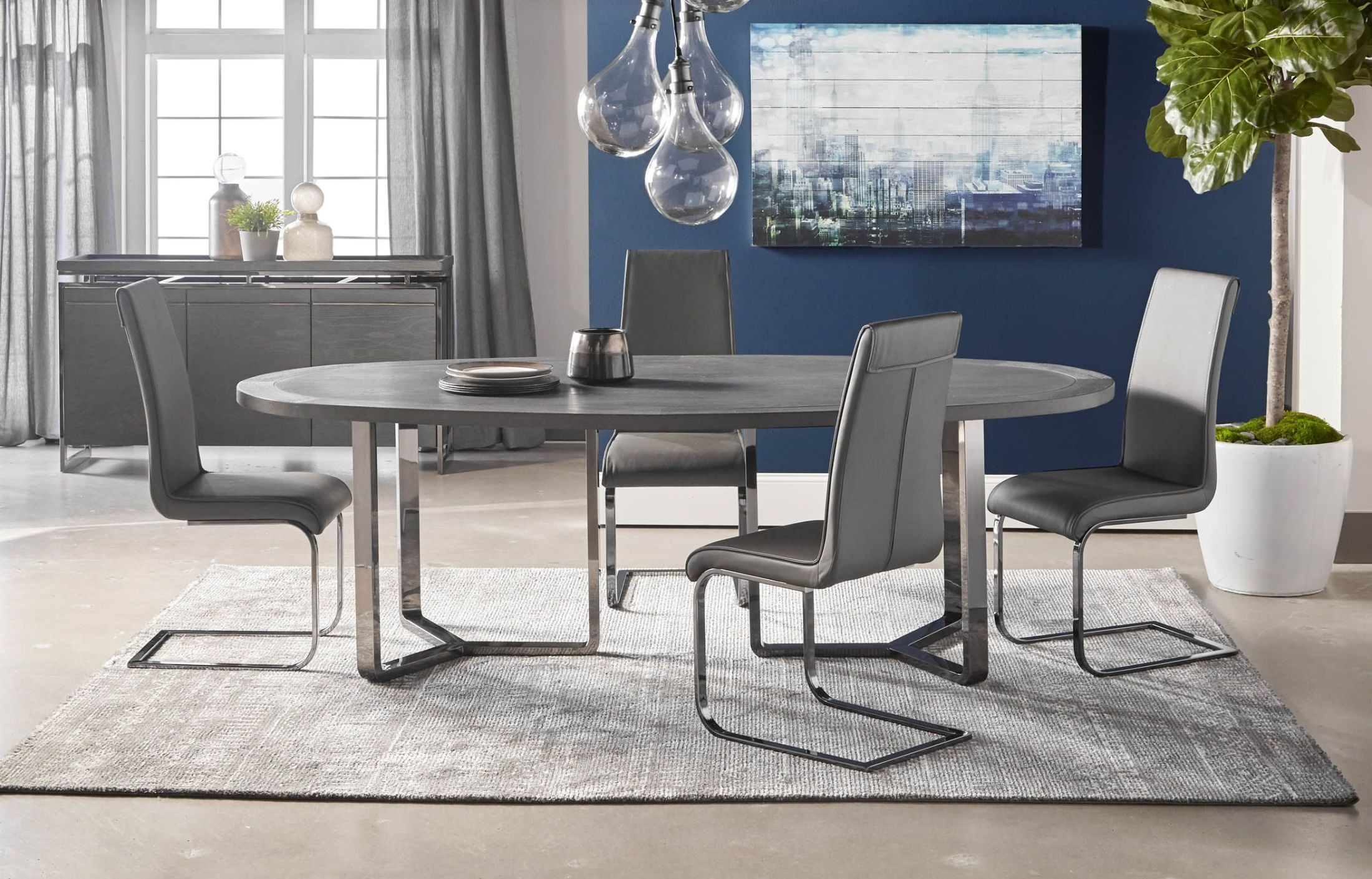 Malone Black Oval Dining Room Set with Milo Dining Chairs & Malone Black Oval Dining Room Set with Milo Dining Chairs from Star ...