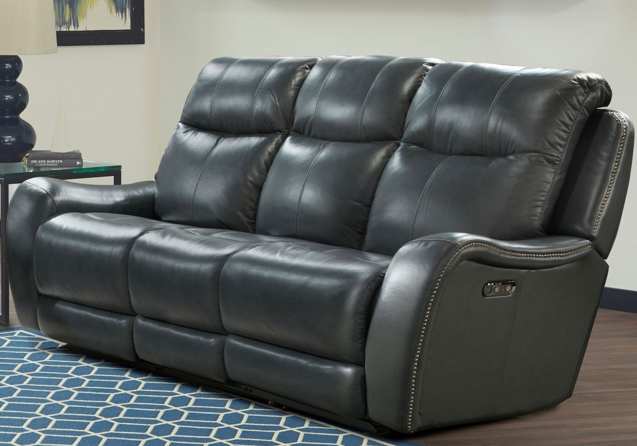 Mammoth denim dual power reclining living room set from parker living coleman furniture Denim loveseat