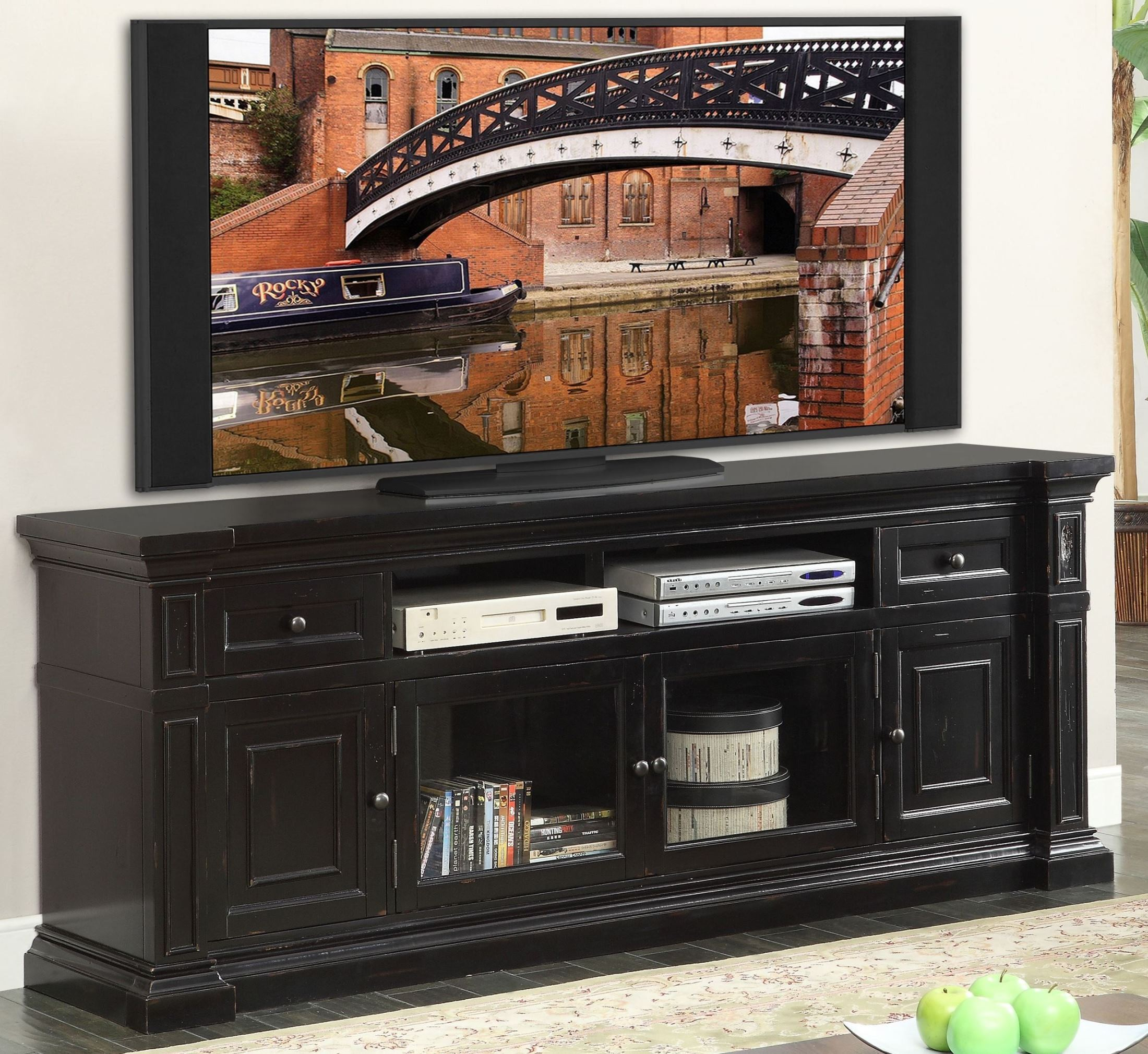 """Manchester Rustic Black 80"""" Media Console From Legends"""