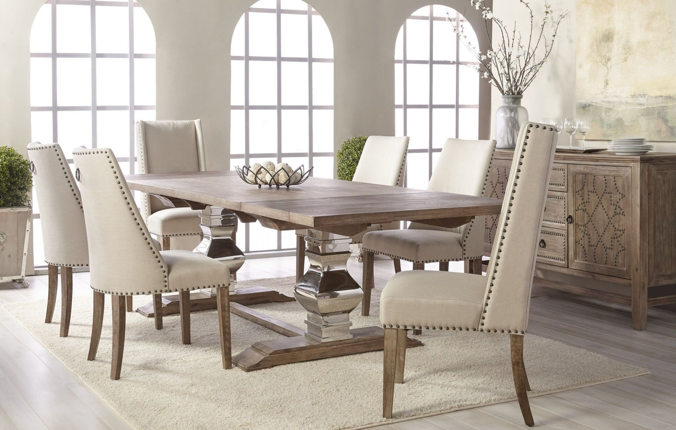 manor gray wash extendable dining room set with traditions dining chairs from orient express. Black Bedroom Furniture Sets. Home Design Ideas