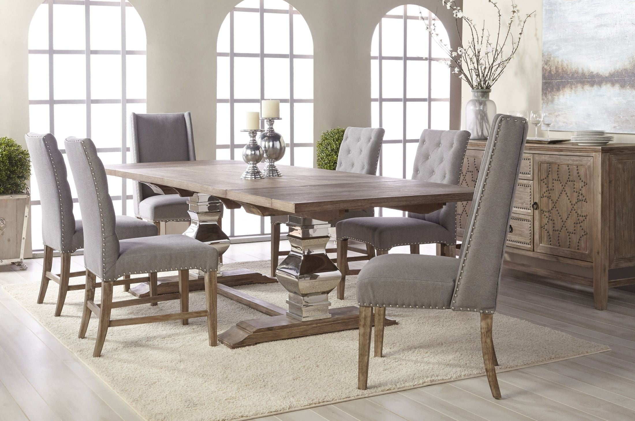 Traditions Gray Wash Manor Extendable Dining Room Set 6095 STL GW