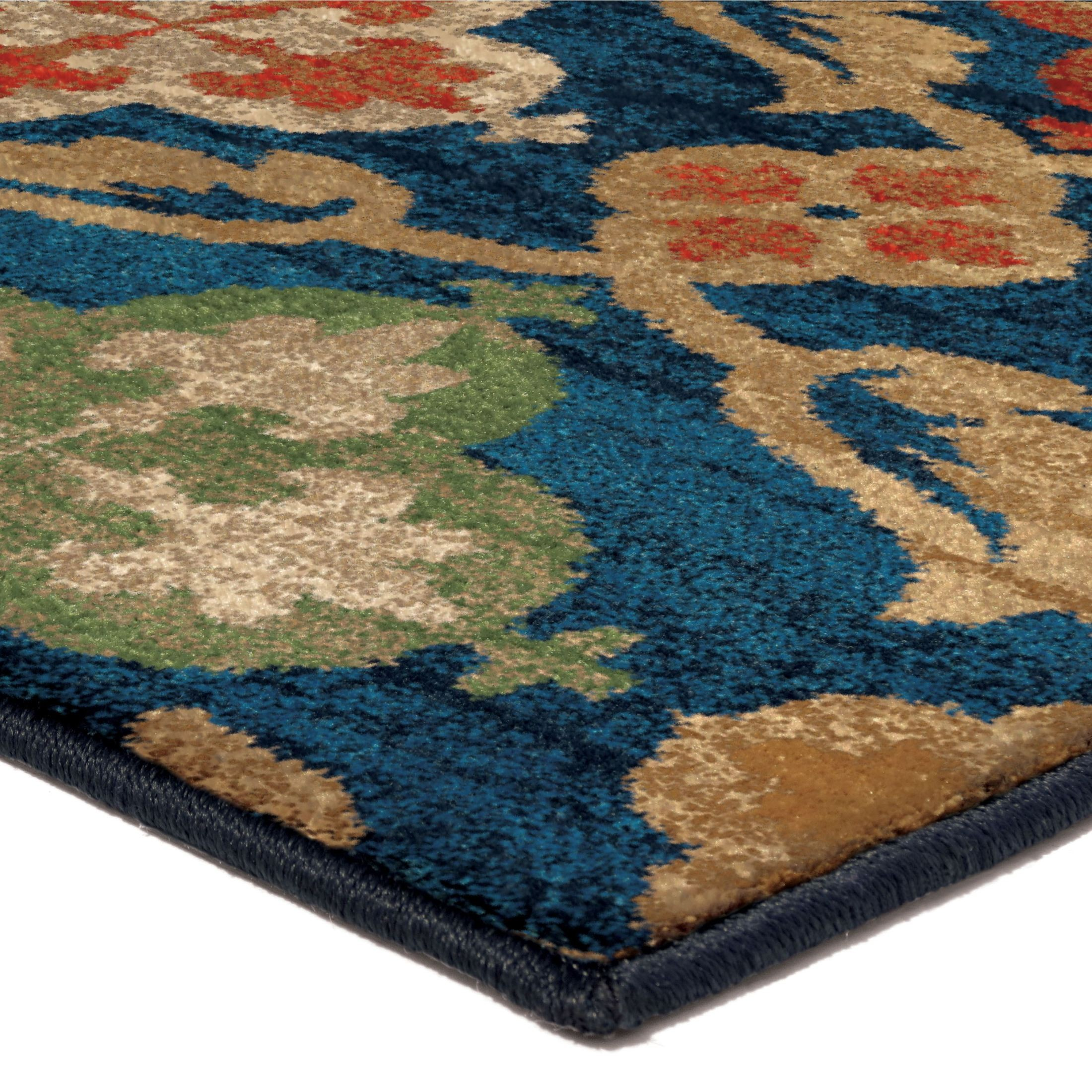 orian rugs bright color medallion tuscan field blue area small rug 3837 5x8 orian rugs. Black Bedroom Furniture Sets. Home Design Ideas