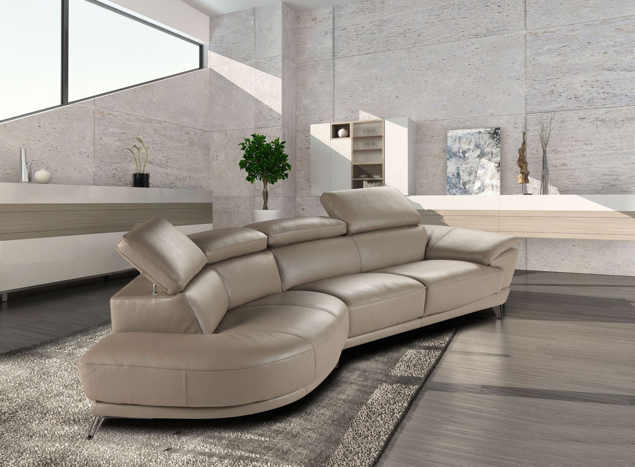 Marisol taupe italian laf chaise leather sectional from j for Brighton taupe 3 piece chaise and sofa set