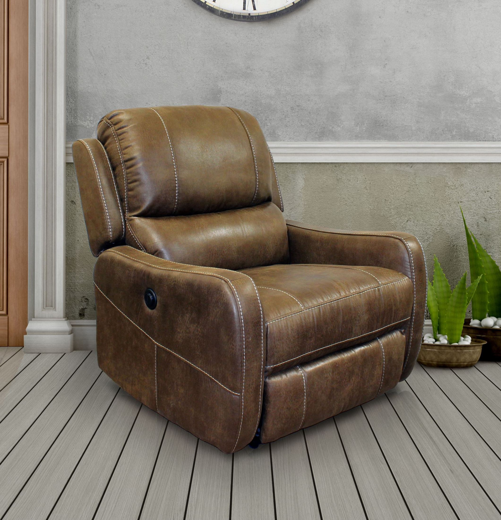 August stone lay flat power recliner from parker living for Flat furniture