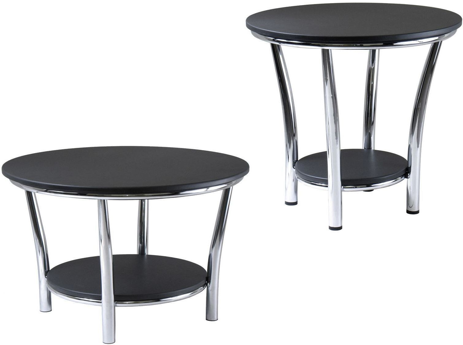 Maya black top round end table from winsomewood coleman for Black round end table