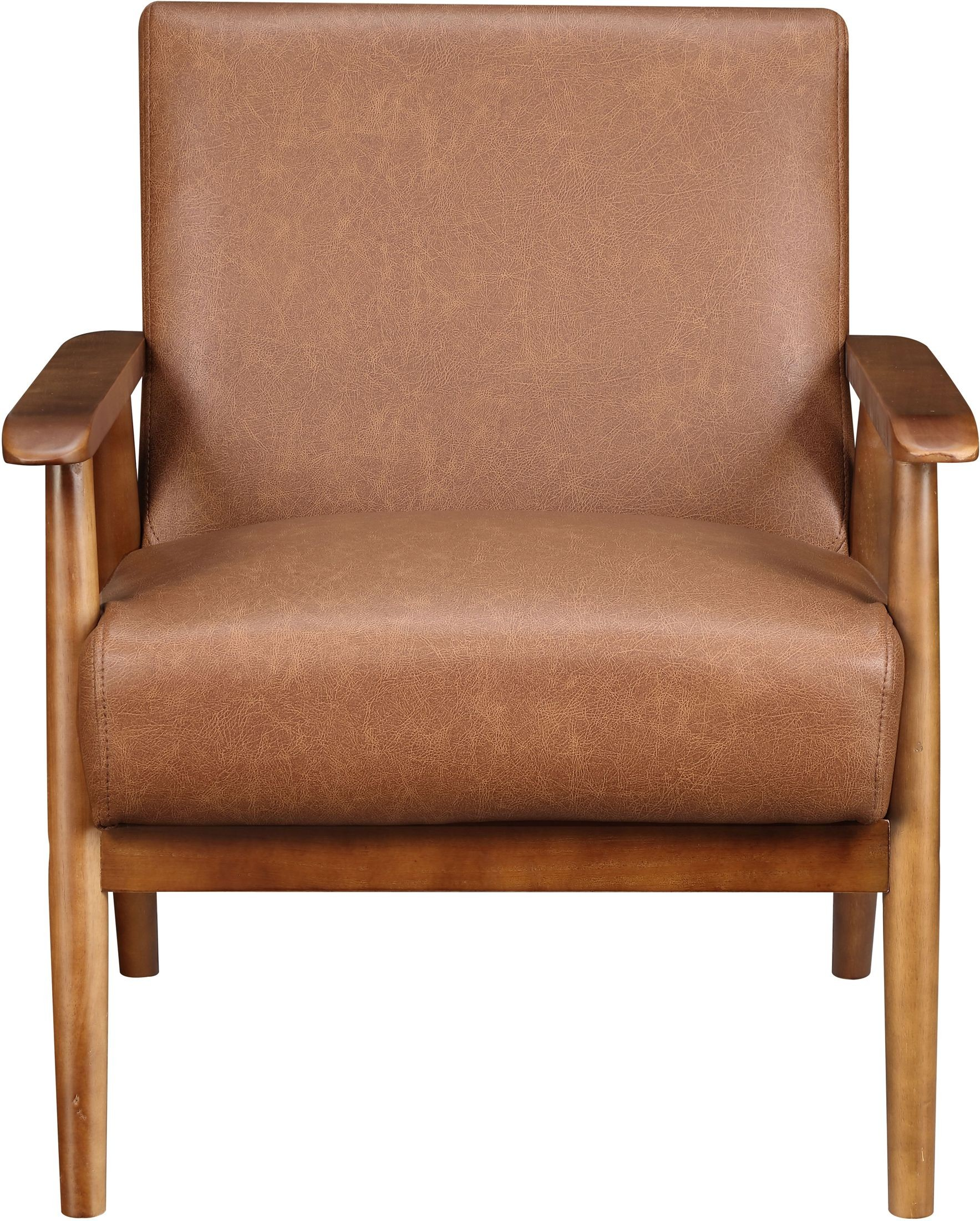 Lummus Cognac Wood Frame Upholstered Accent Chair from Pulaski