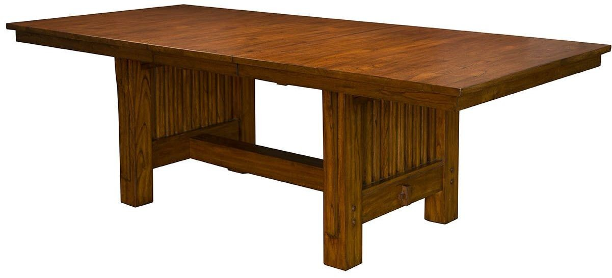 mission hill medium harvest 92 extendable rectangular trestle dining table from a america. Black Bedroom Furniture Sets. Home Design Ideas